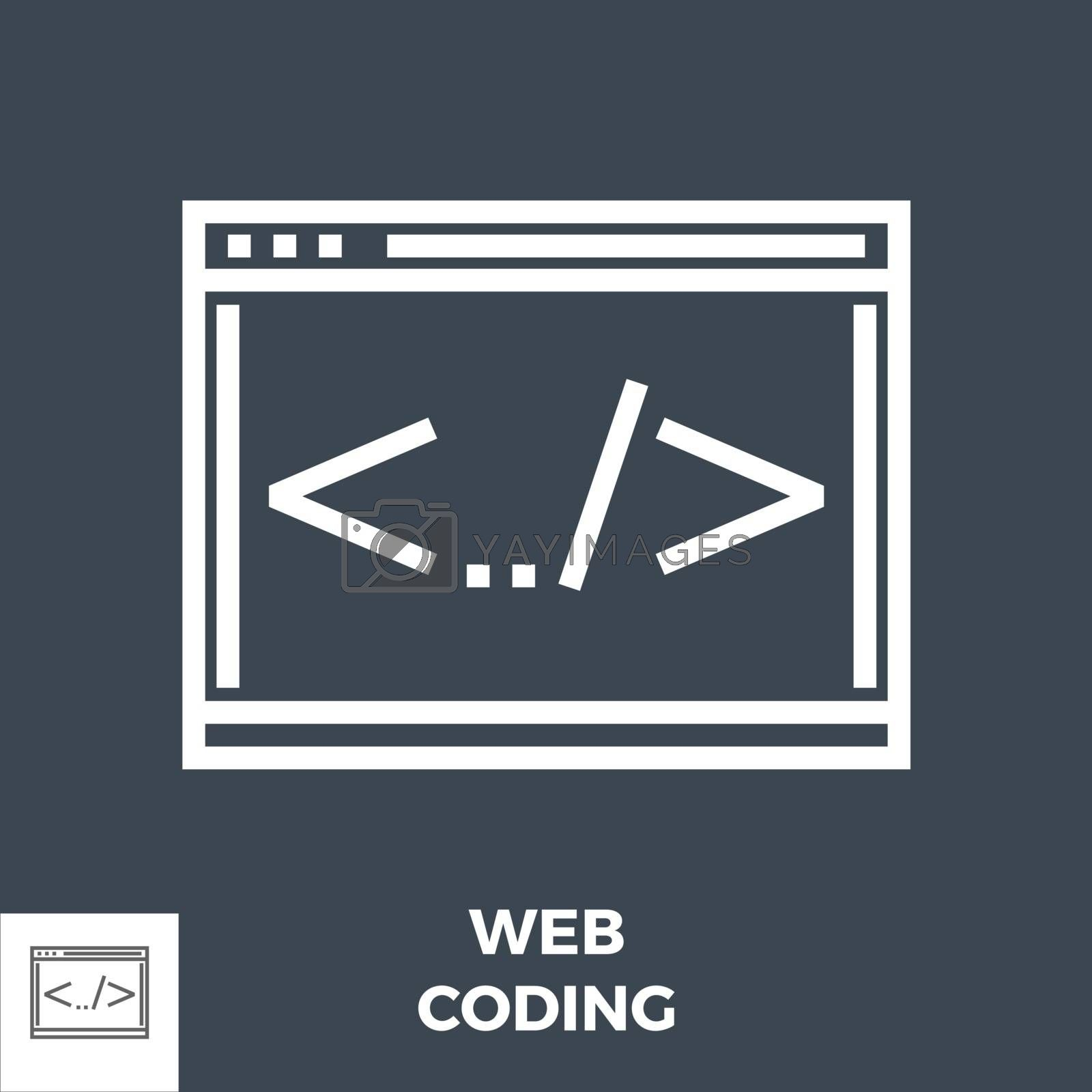 Web Coding Thin Line Vector Icon Isolated on the Black Background.