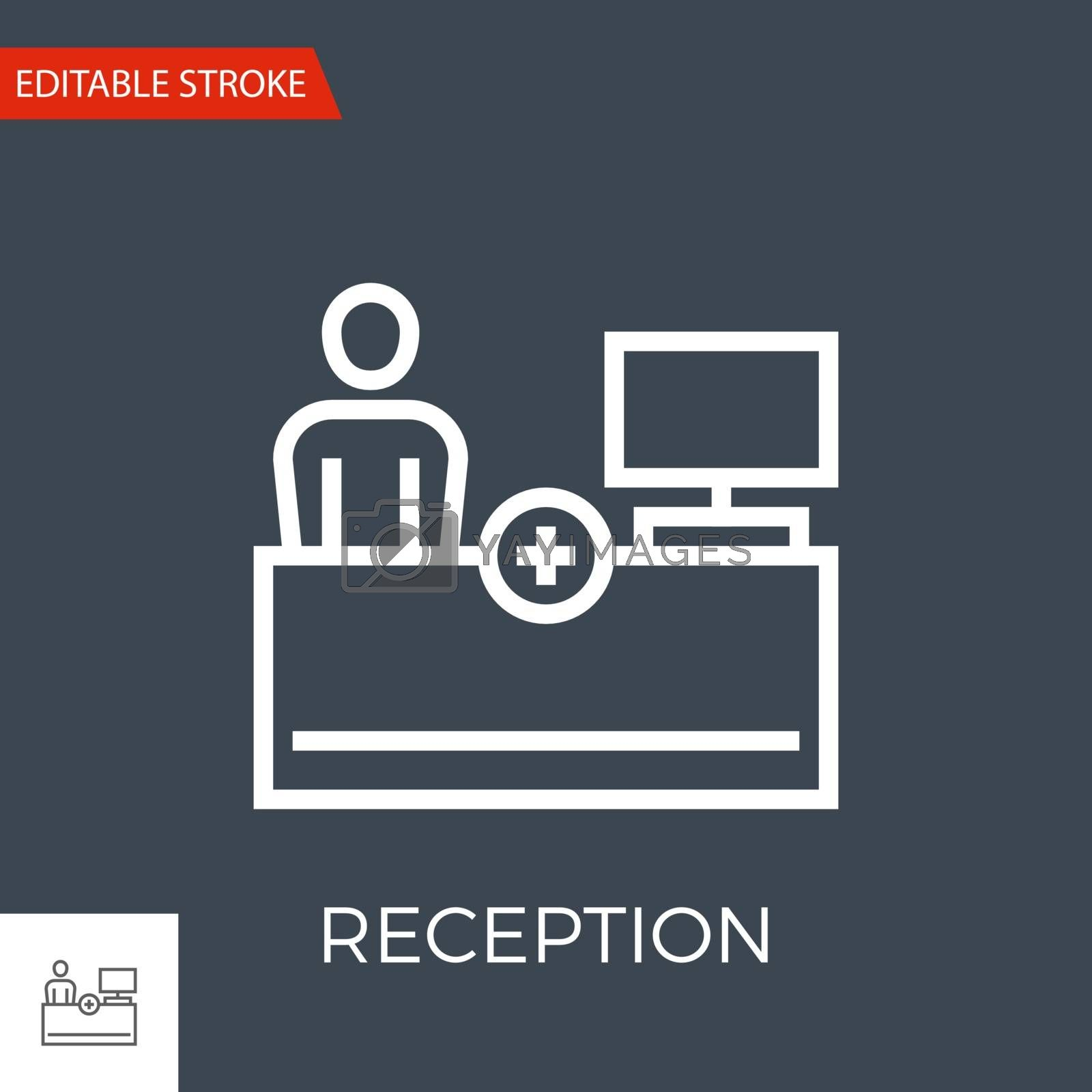 Reception Thin Line Vector Icon. Flat Icon Isolated on the Black Background. Editable Stroke EPS file. Vector illustration.