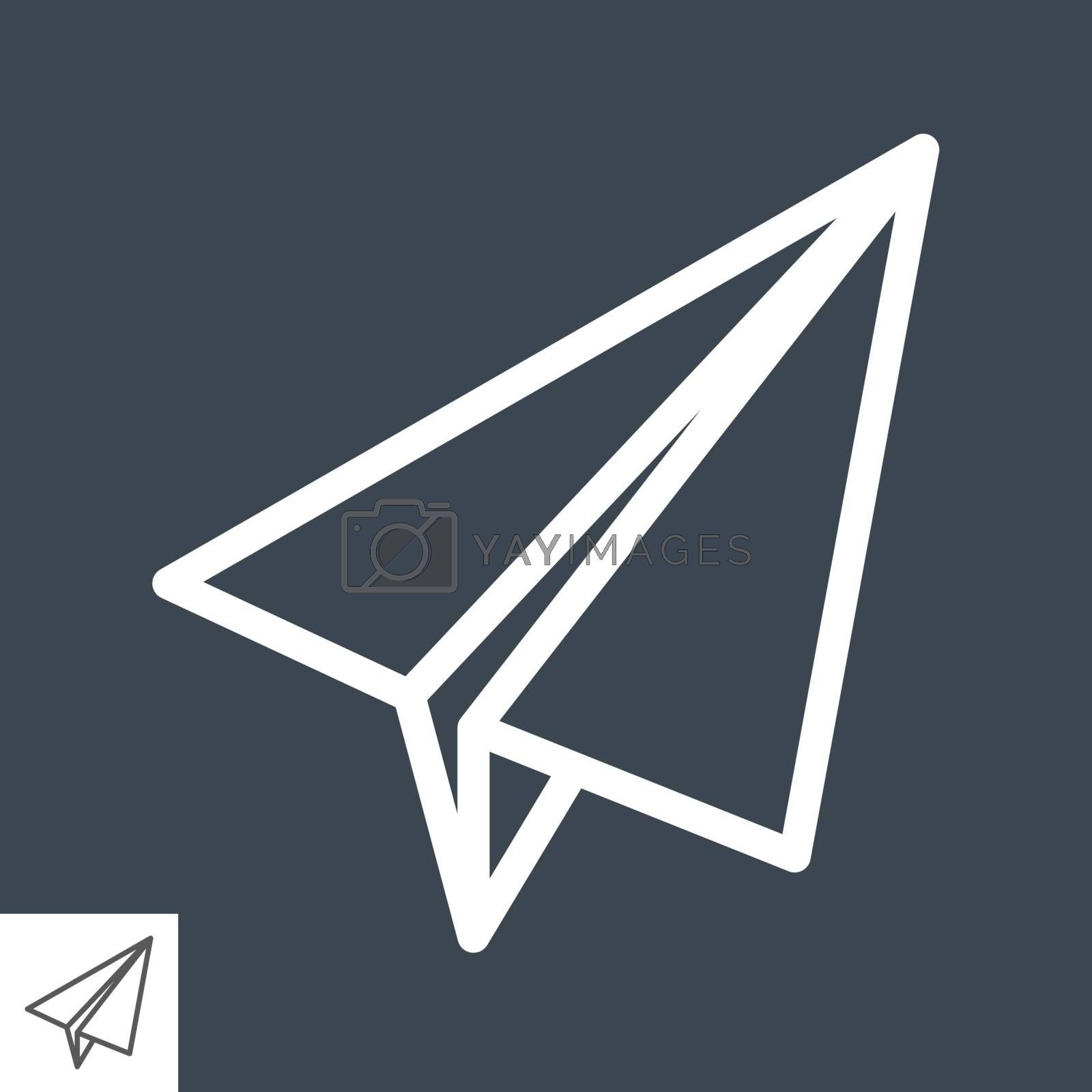 Paper Airplane Thin Line Vector Icon. Flat icon isolated on the black background. Editable EPS file. Vector illustration.