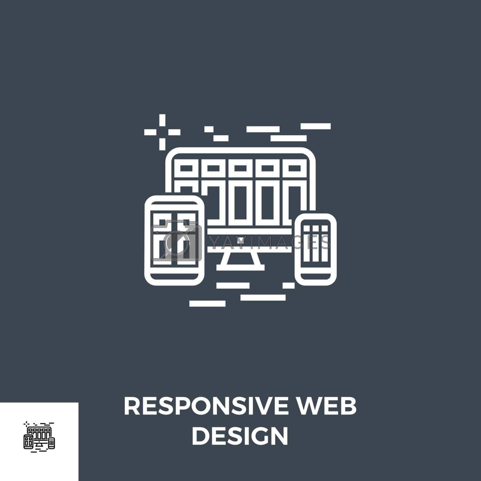 Responsive Web Design Related Vector Thin Line Icon. Isolated on Black Background. Editable Stroke. Vector Illustration.