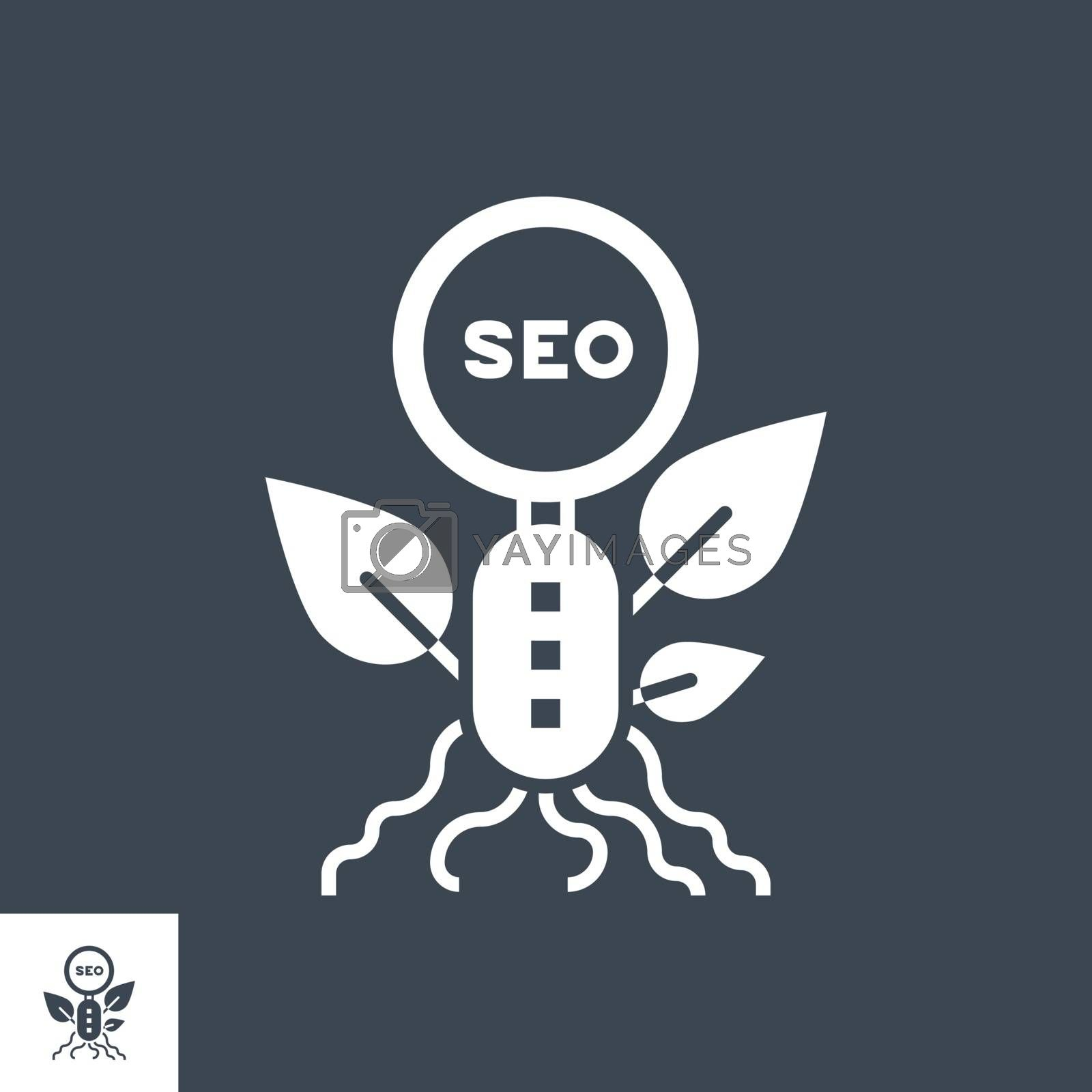 Organic SEO Related Vector Glyph Icon. Isolated on Black Background. Vector Illustration.