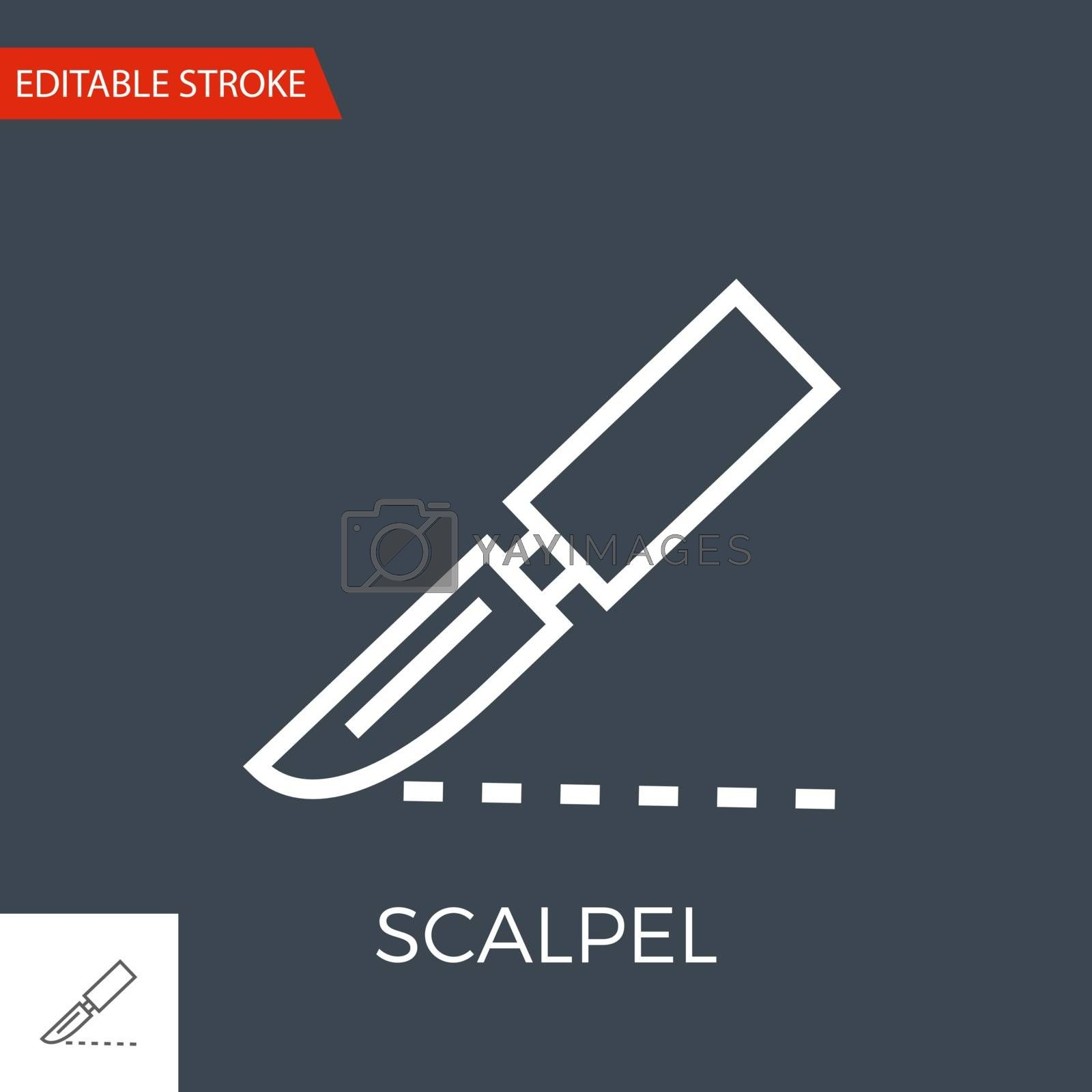 Scalpel Thin Line Vector Icon. Flat Icon Isolated on the Black Background. Editable Stroke EPS file. Vector illustration.