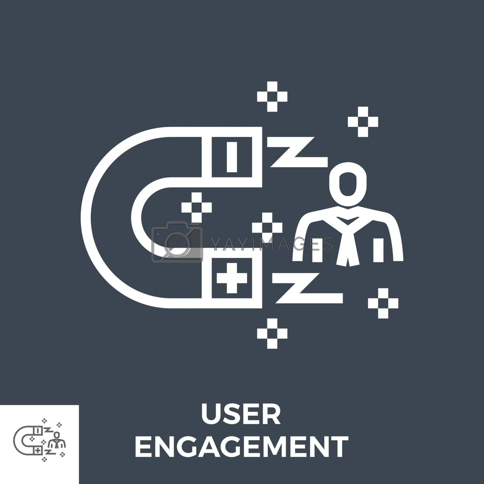 User Engagement Thin Line Vector Icon Isolated on the Black Background.