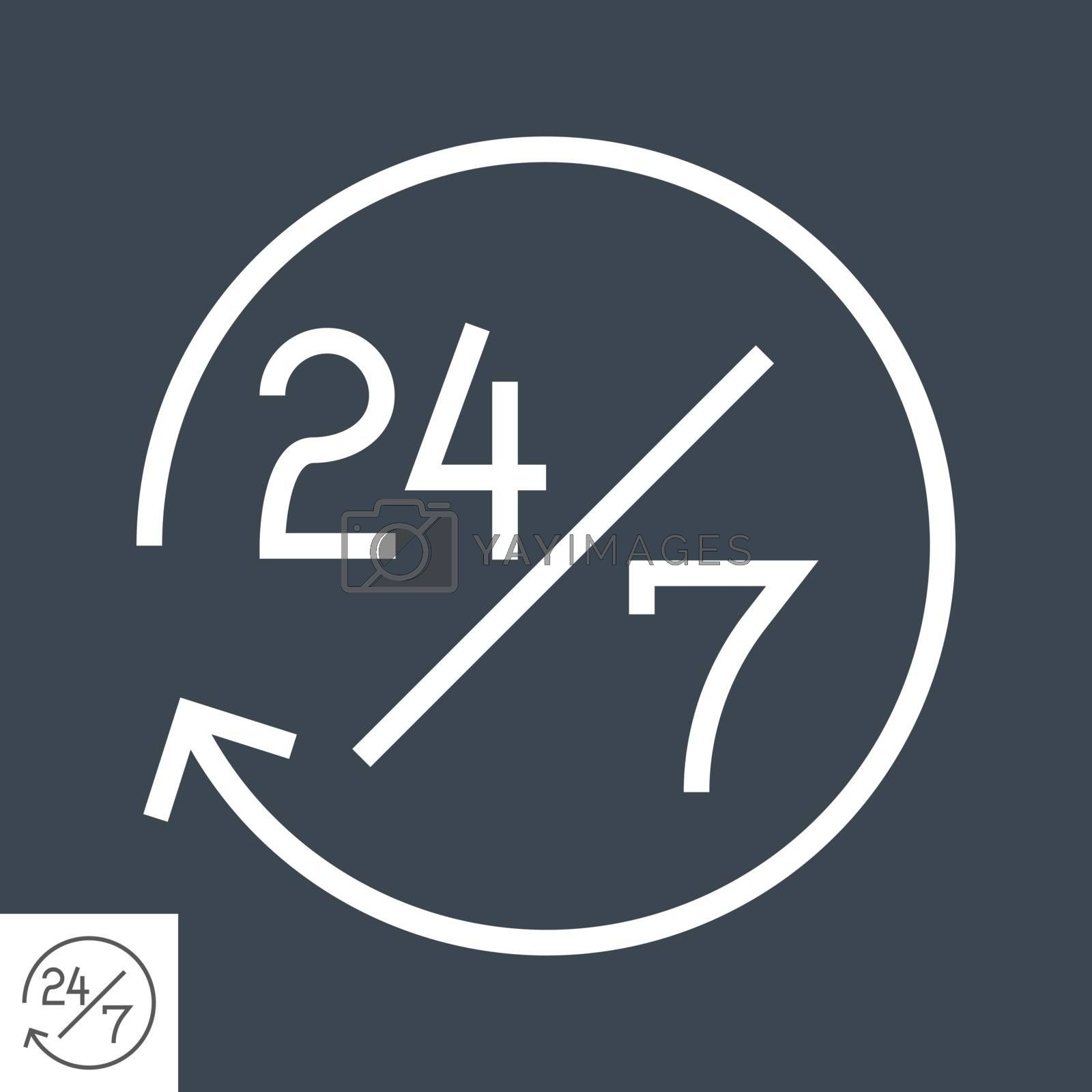 Steady Services 24/7 Thin Line Vector Icon. Flat icon isolated on the black background. Editable EPS file. Vector illustration.