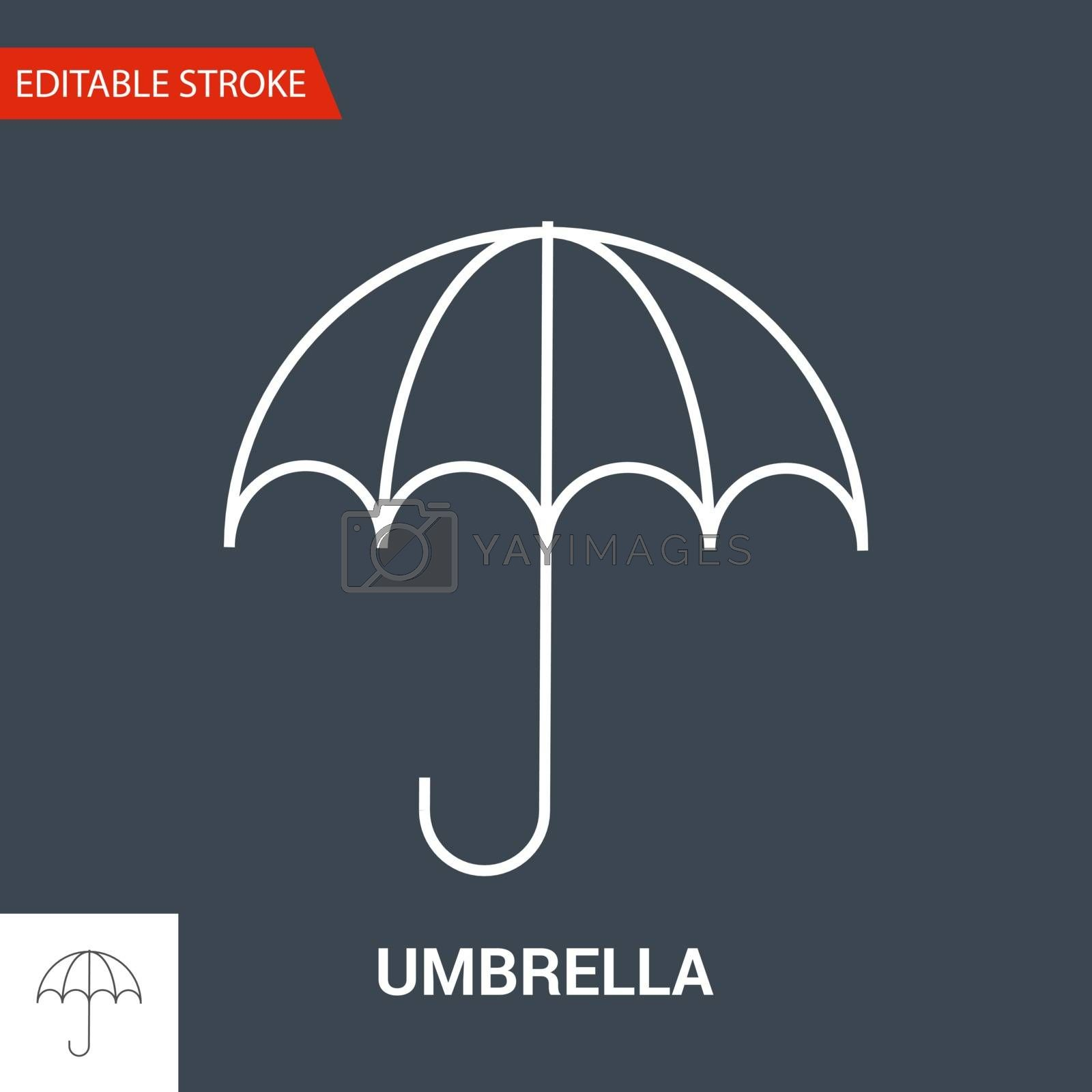 Umbrella Icon. Thin Line Vector Illustration. Adjust stroke weight - Expand to any Size - Easy Change Colour - Editable Stroke