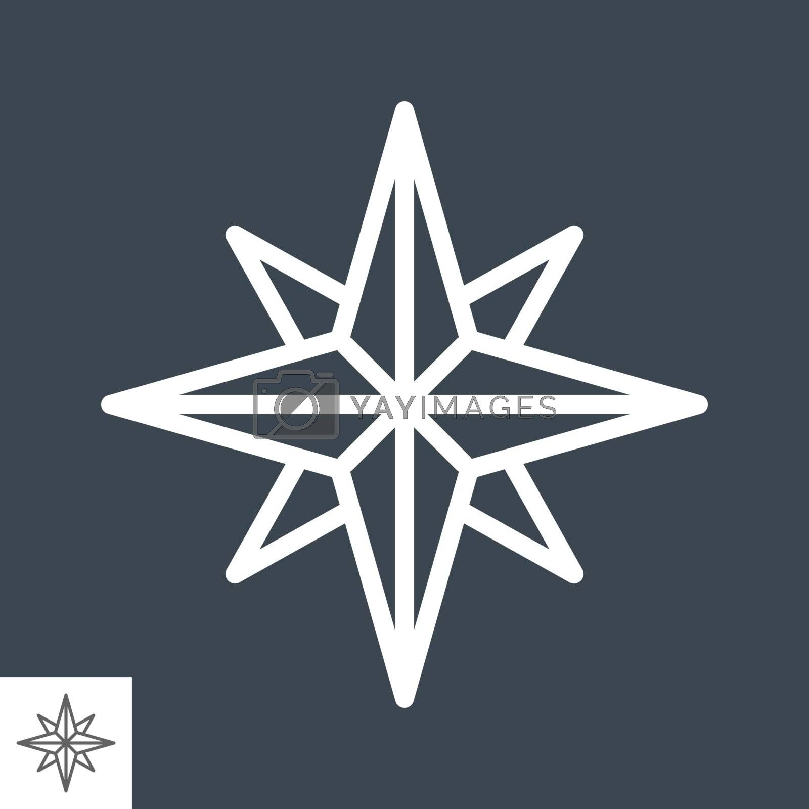 Wind Rose Thin Line Vector Icon Isolated on the Black Background.