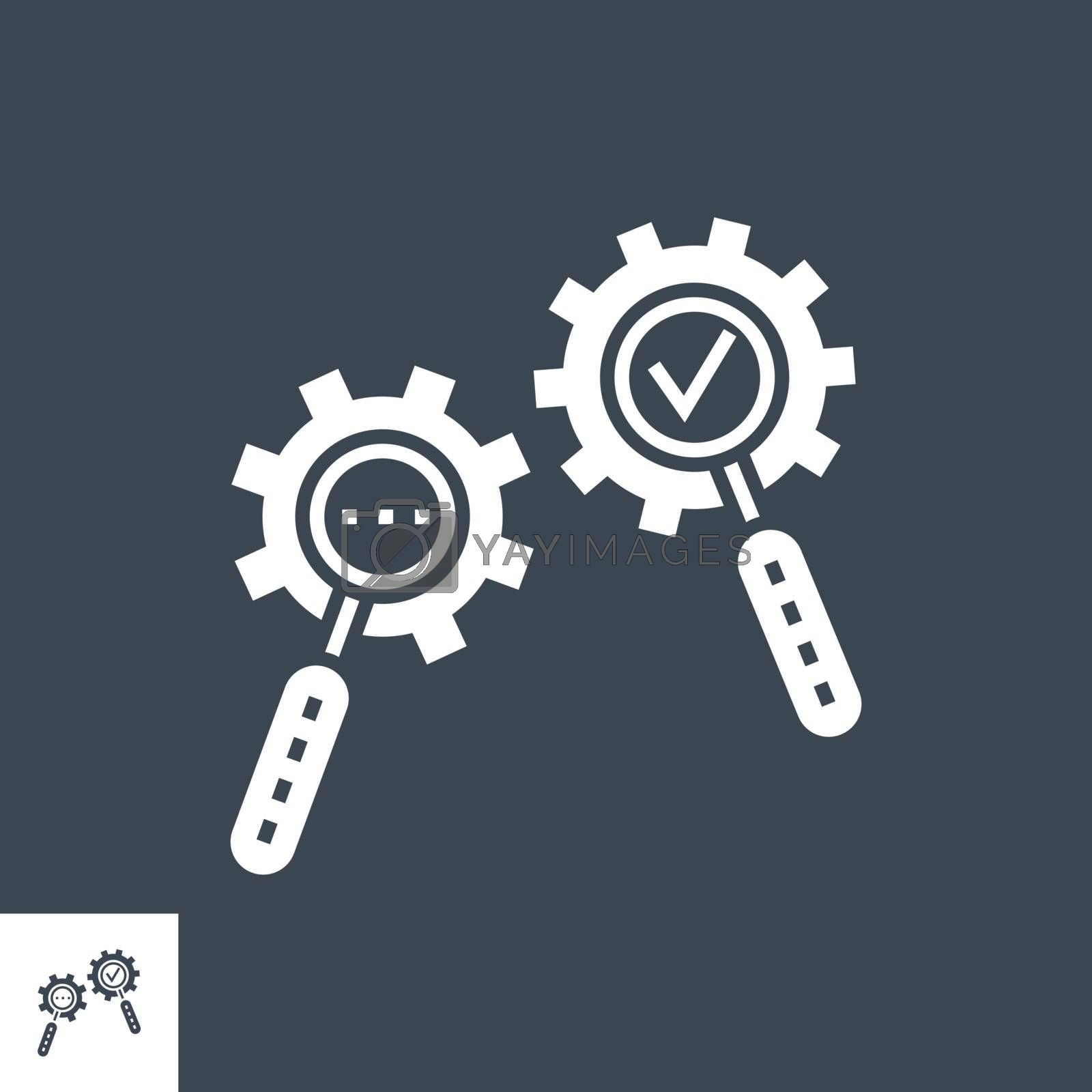 Search Process Related Vector Glyph Icon. Isolated on Black Background. Vector Illustration.