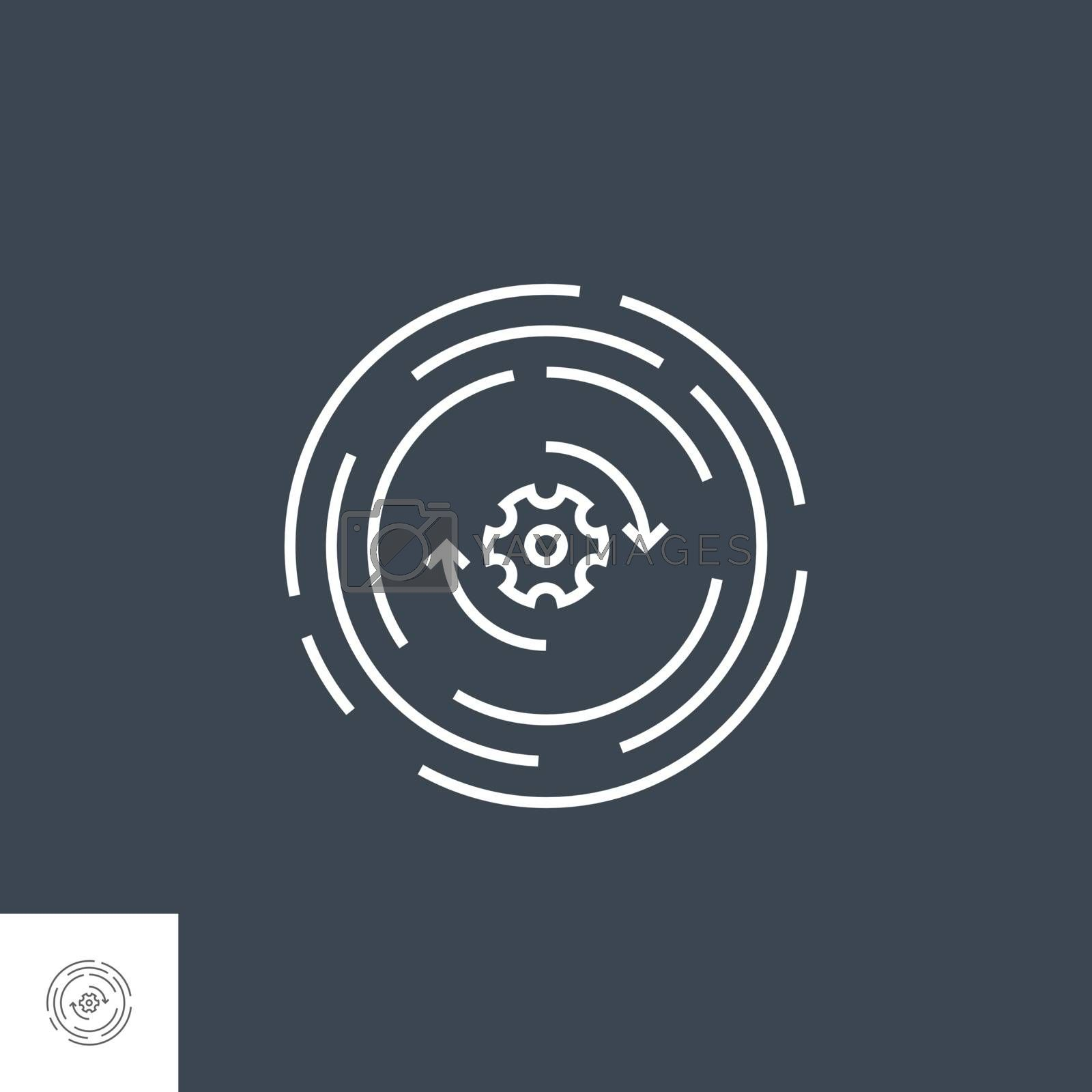 Update Related Vector Thin Line Icon. Isolated on Black Background. Editable Stroke. Vector Illustration.