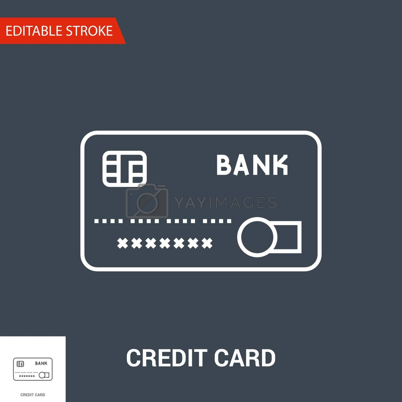 Credit Card Icon. Thin Line Vector Illustration - Adjust stroke weight - Expand to any Size - Easy Change Colour - Editable Stroke
