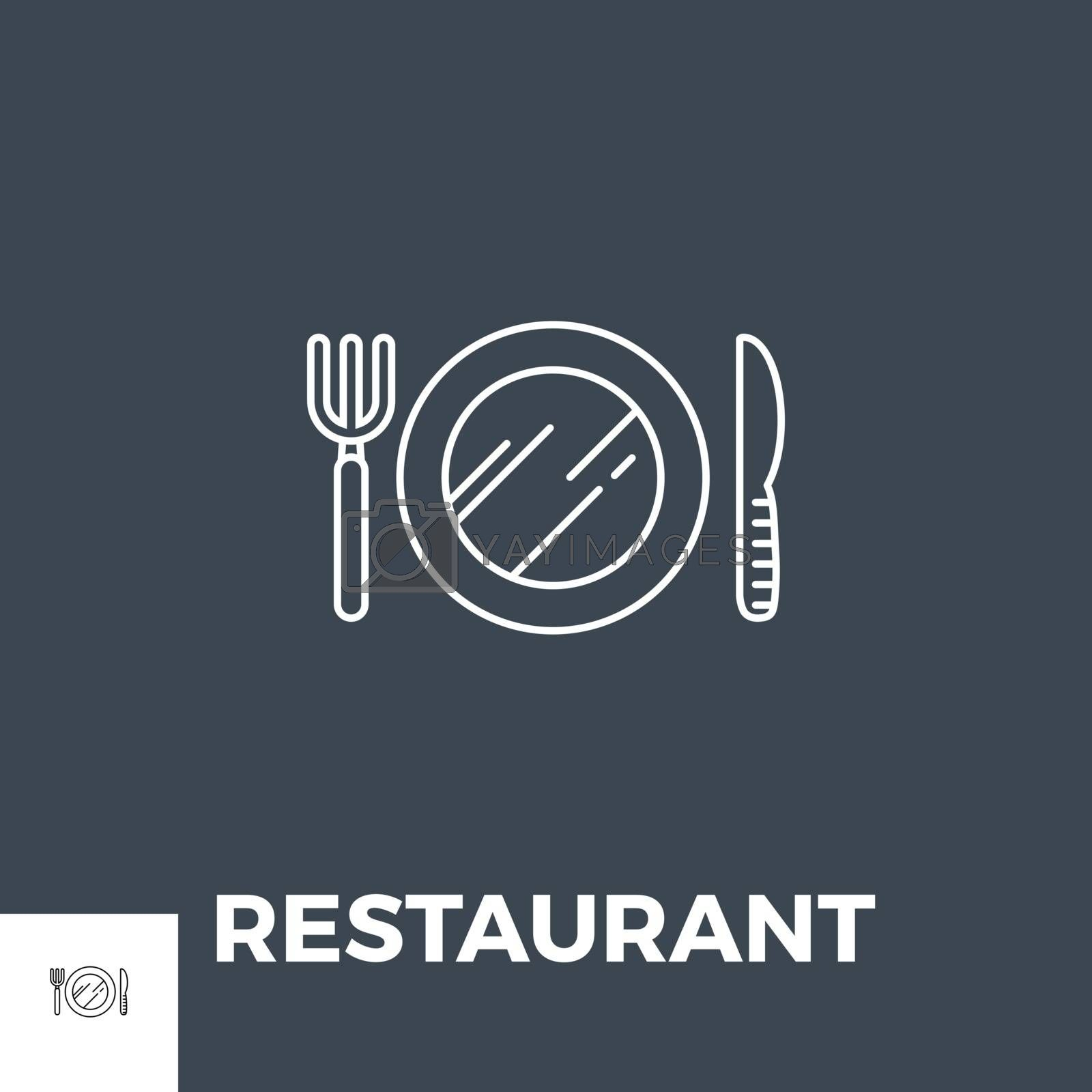 Restaurant Vector Thin Line Icon. Isolated on Black Background. Vector Illustration.