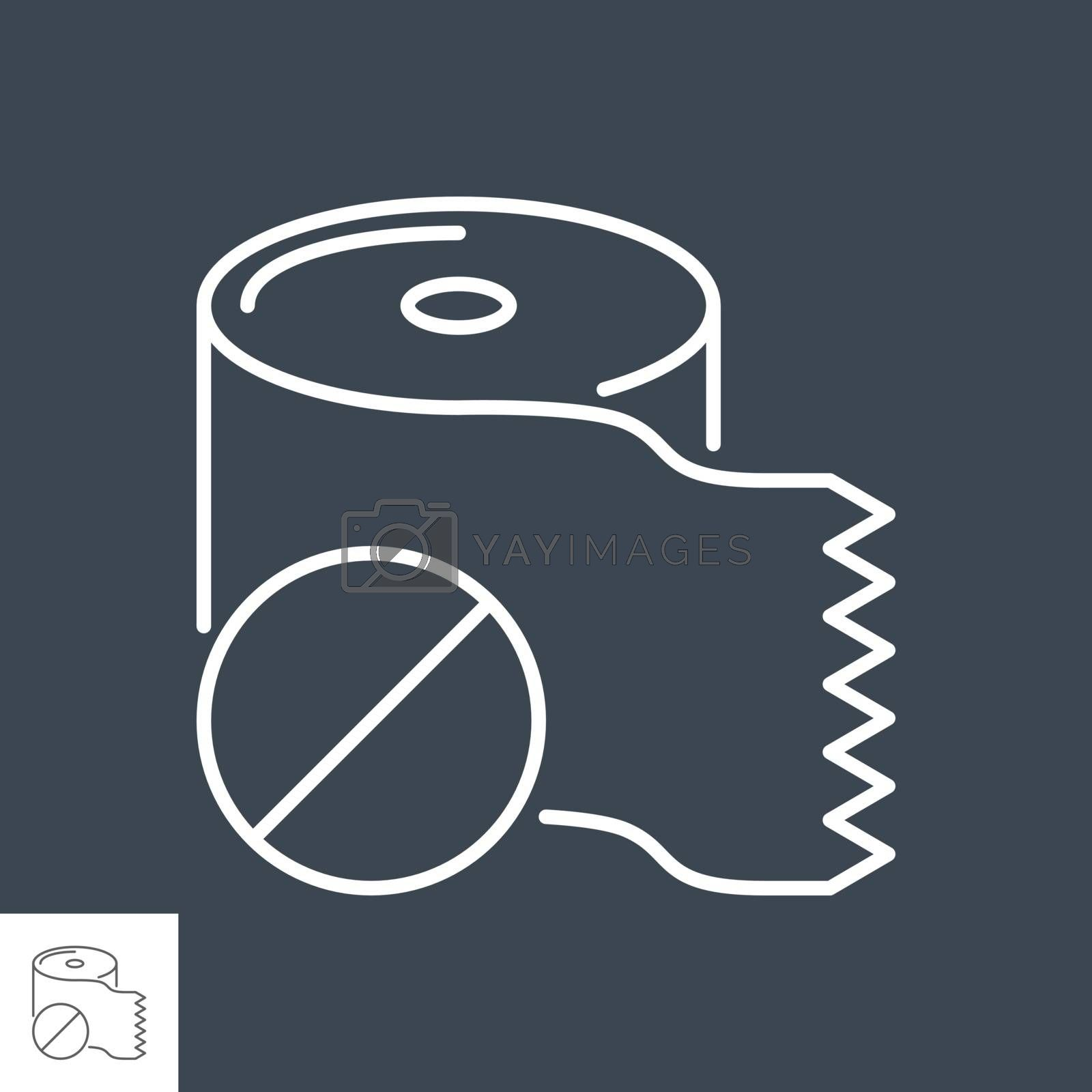 Toilet paper related vector thin line icon. Toilet paper with a prohibition sign. Isolated on black background. Editable stroke. Vector illustration.