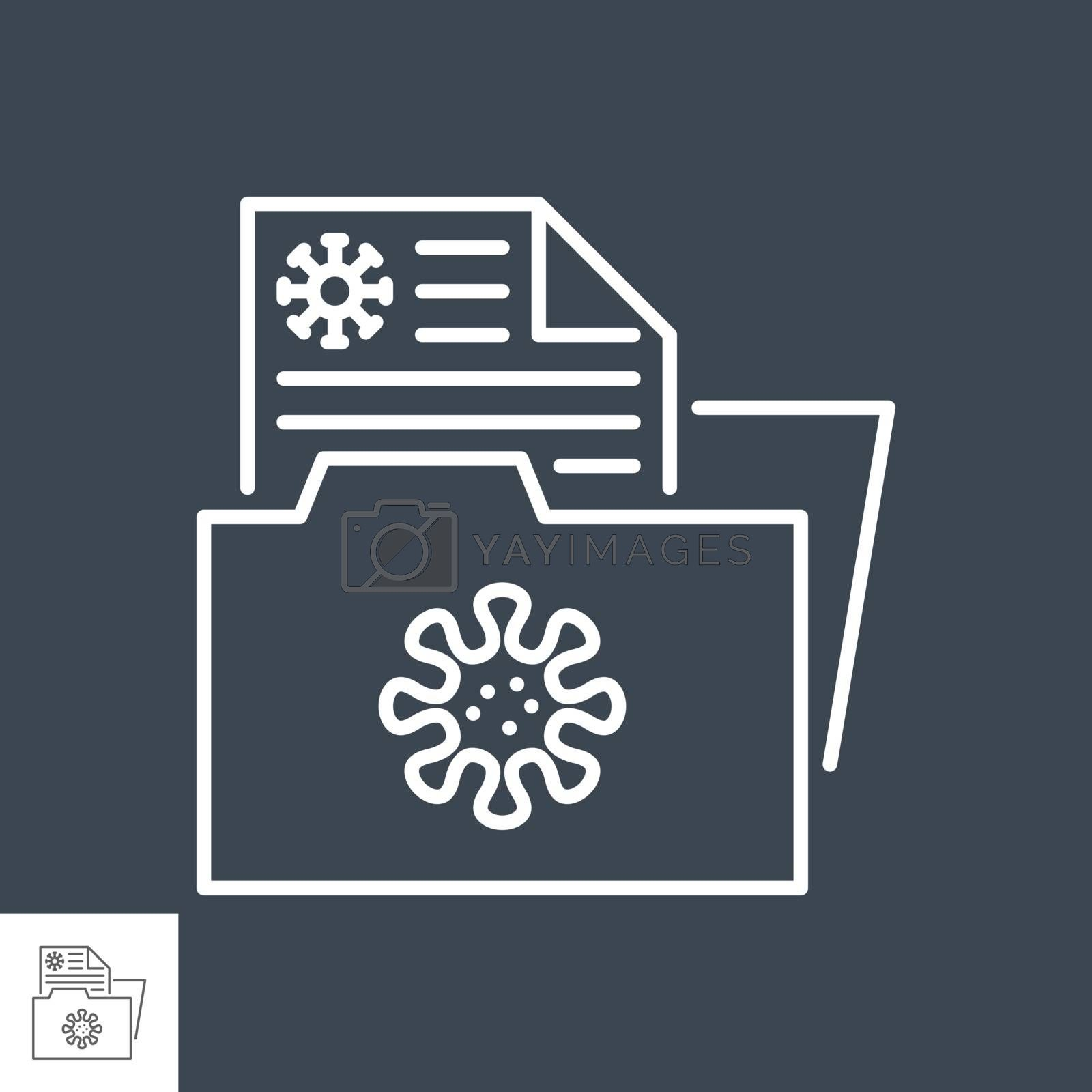 Virus information related vector thin line icon. Documents Folder with Virus Information. Isolated on black background. Editable stroke. Vector illustration.