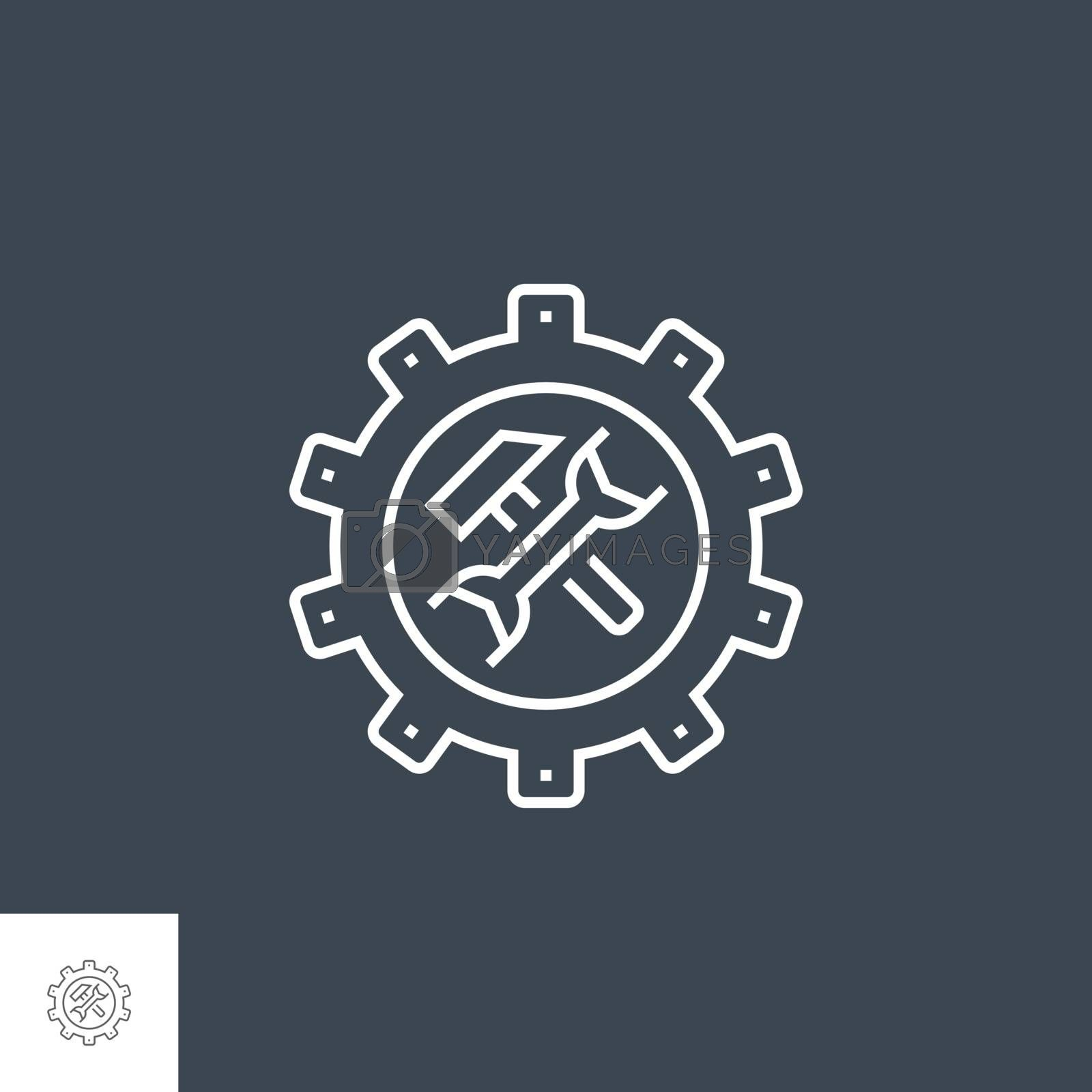 Technical Support Related Vector Thin Line Icon. Isolated on Black Background. Editable Stroke. Vector Illustration.