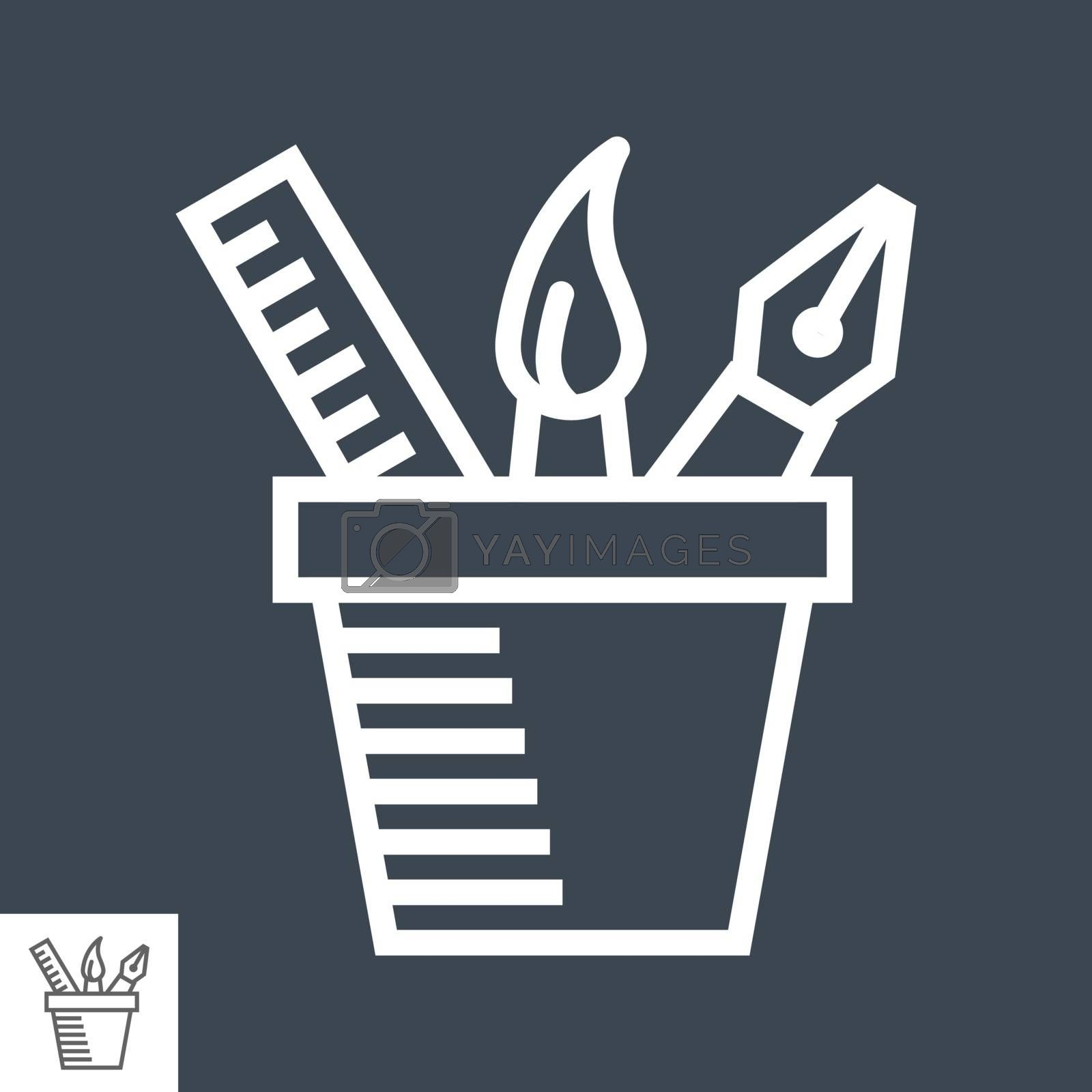 Design Tools Thin Line Vector Icon Isolated on the Black Background.
