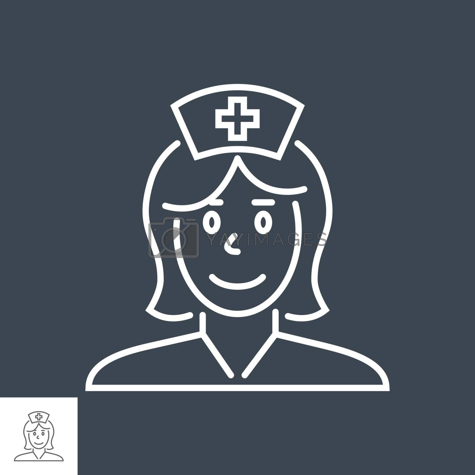 Nurse related vector thin line icon. Isolated on black background. Editable stroke. Vector illustration.