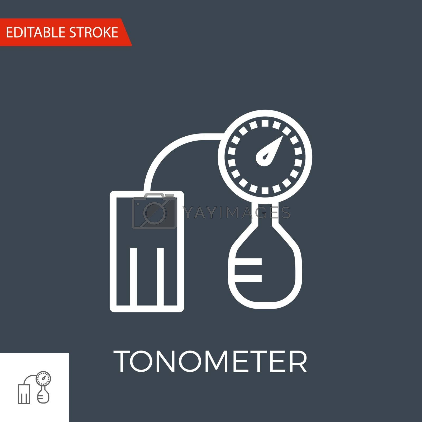 Tonometer Thin Line Vector Icon. Flat Icon Isolated on the Black Background. Editable Stroke EPS file. Vector illustration.