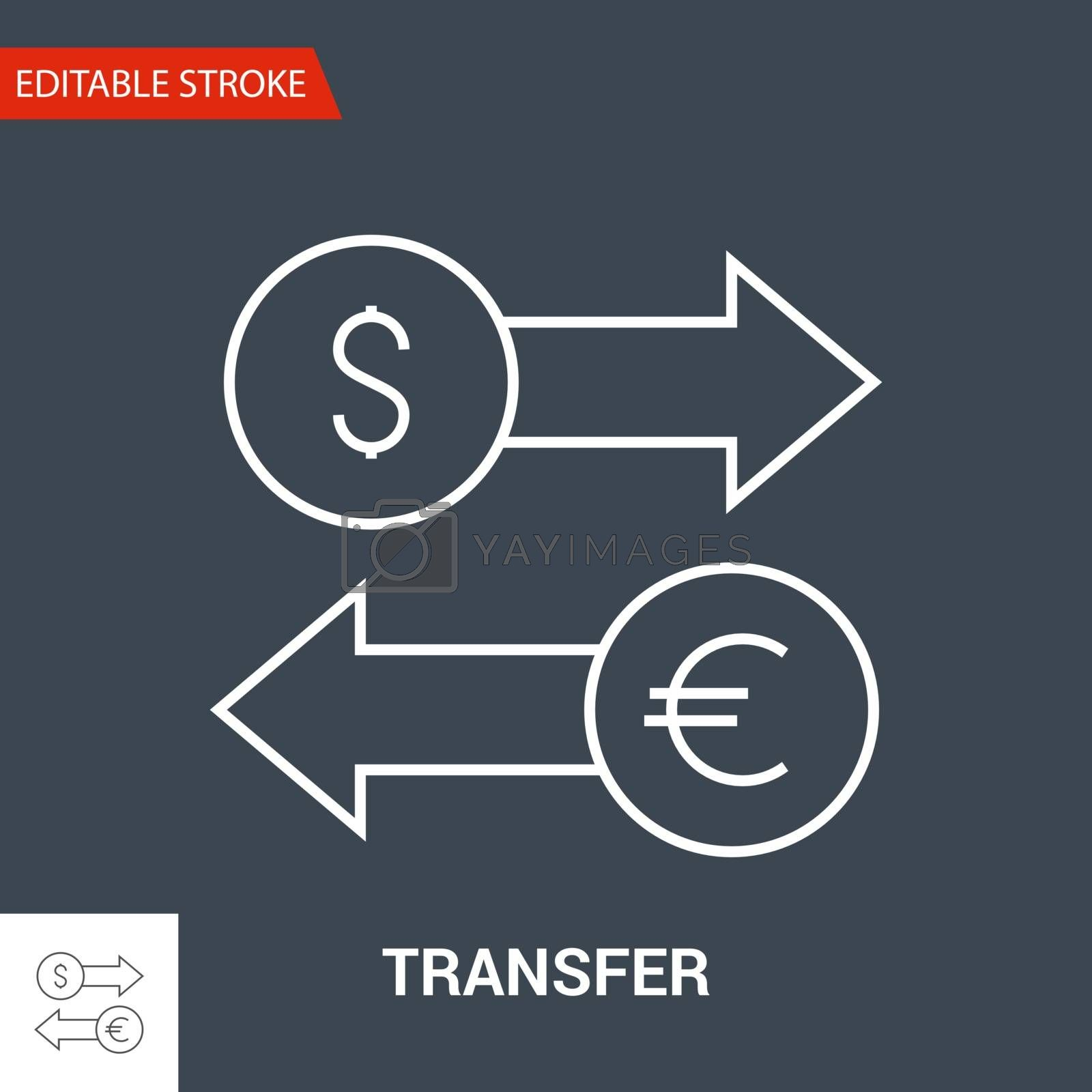Transfer Icon. Thin Line Vector Illustration. Adjust stroke weight - Expand to any Size - Easy Change Colour - Editable Stroke