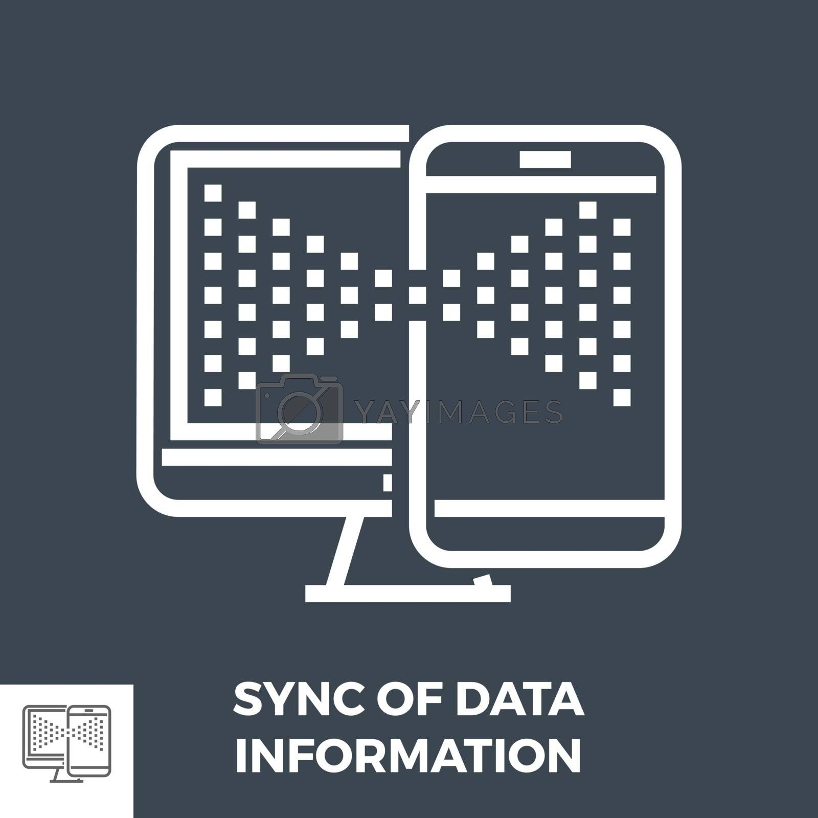 Sync of Data Infomation Thin Line Vector Icon Isolated on the Black Background.