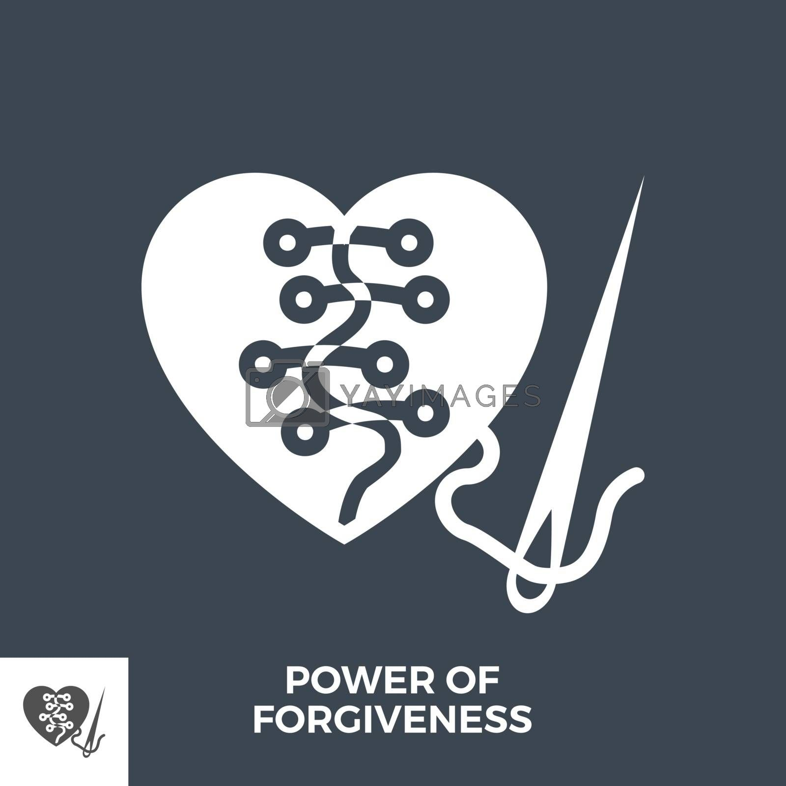 Power of Forgiveness Glyph Vector Icon Isolated on the Black Background.