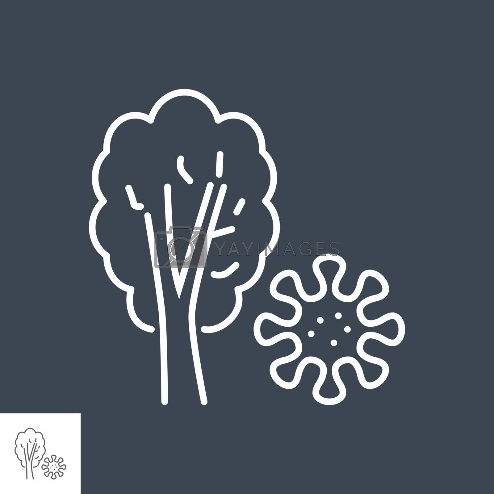 Virus on plant related vector thin line icon. Isolated on black background. Editable stroke. Vector illustration.