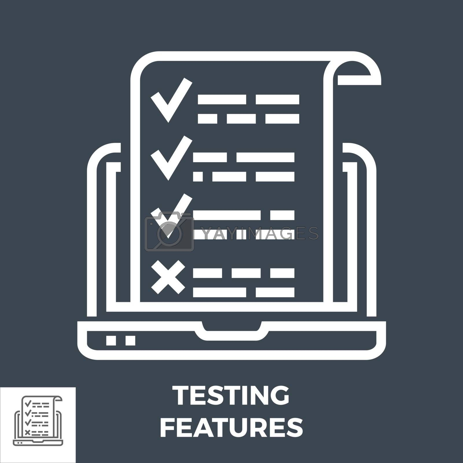 Testing Features Thin Line Vector Icon Isolated on the Black Background.