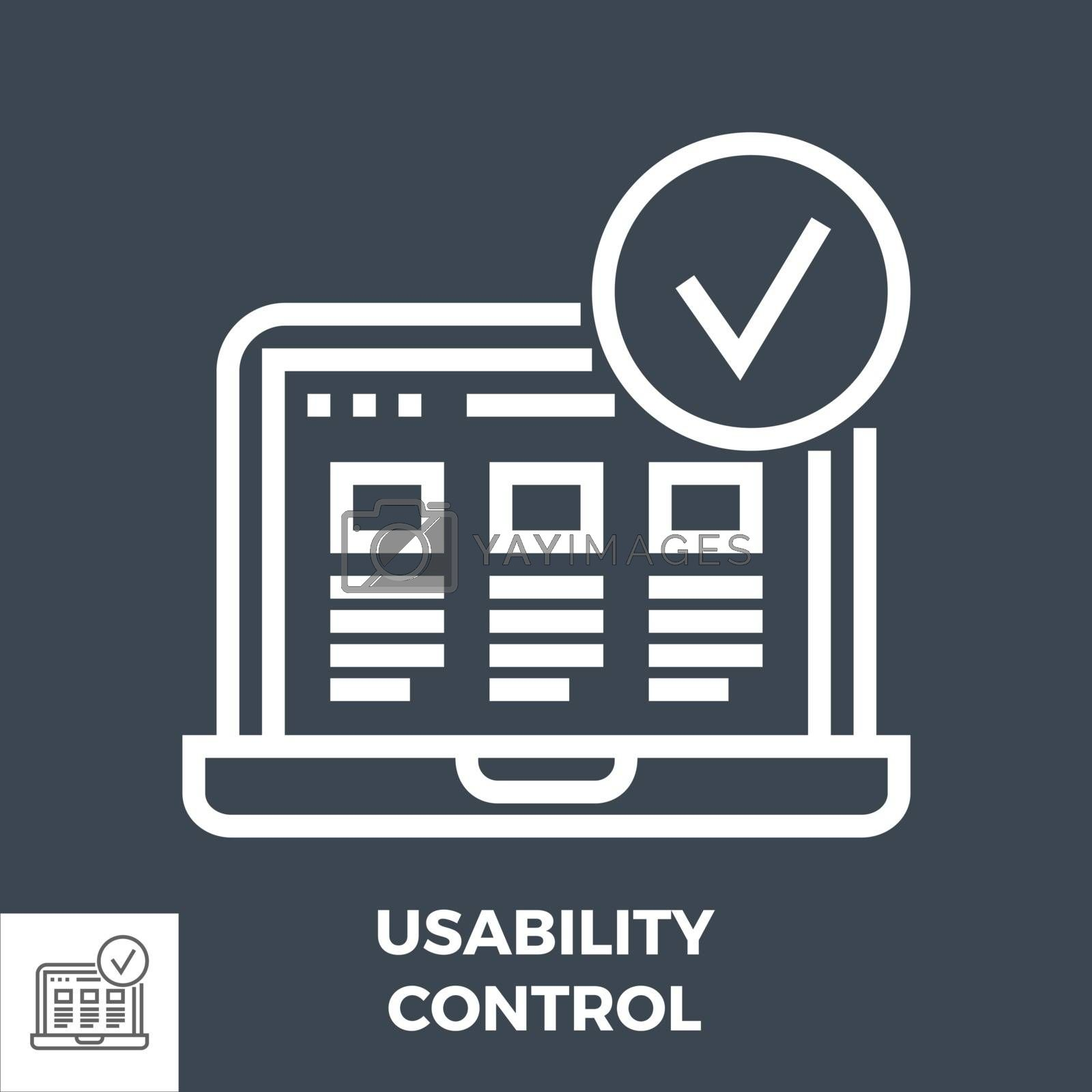 Usability Control Thin Line Vector Icon Isolated on the Black Background.