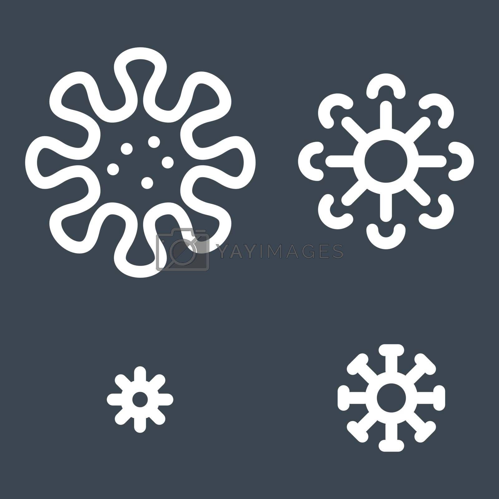 Viruses set related vector thin line icon. Isolated on black background. Editable stroke. Vector illustration.