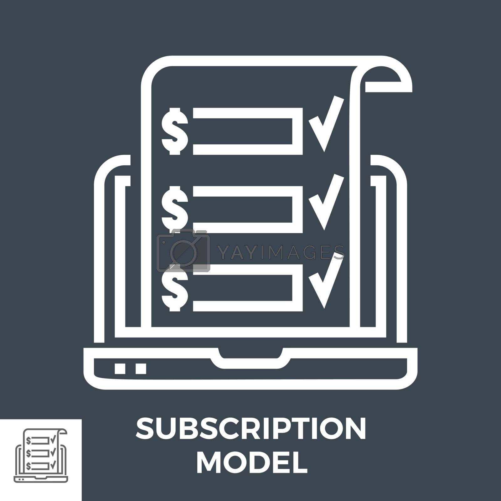Subscription Model Thin Line Vector Icon Isolated on the Black Background.