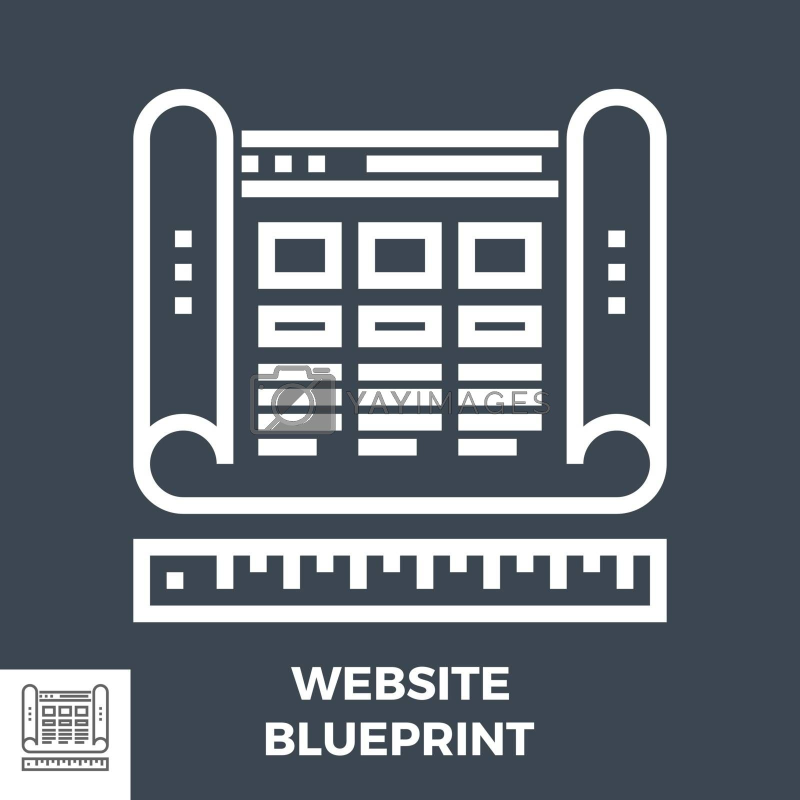 Website Blueprint Thin Line Vector Icon Isolated on the Black Background.