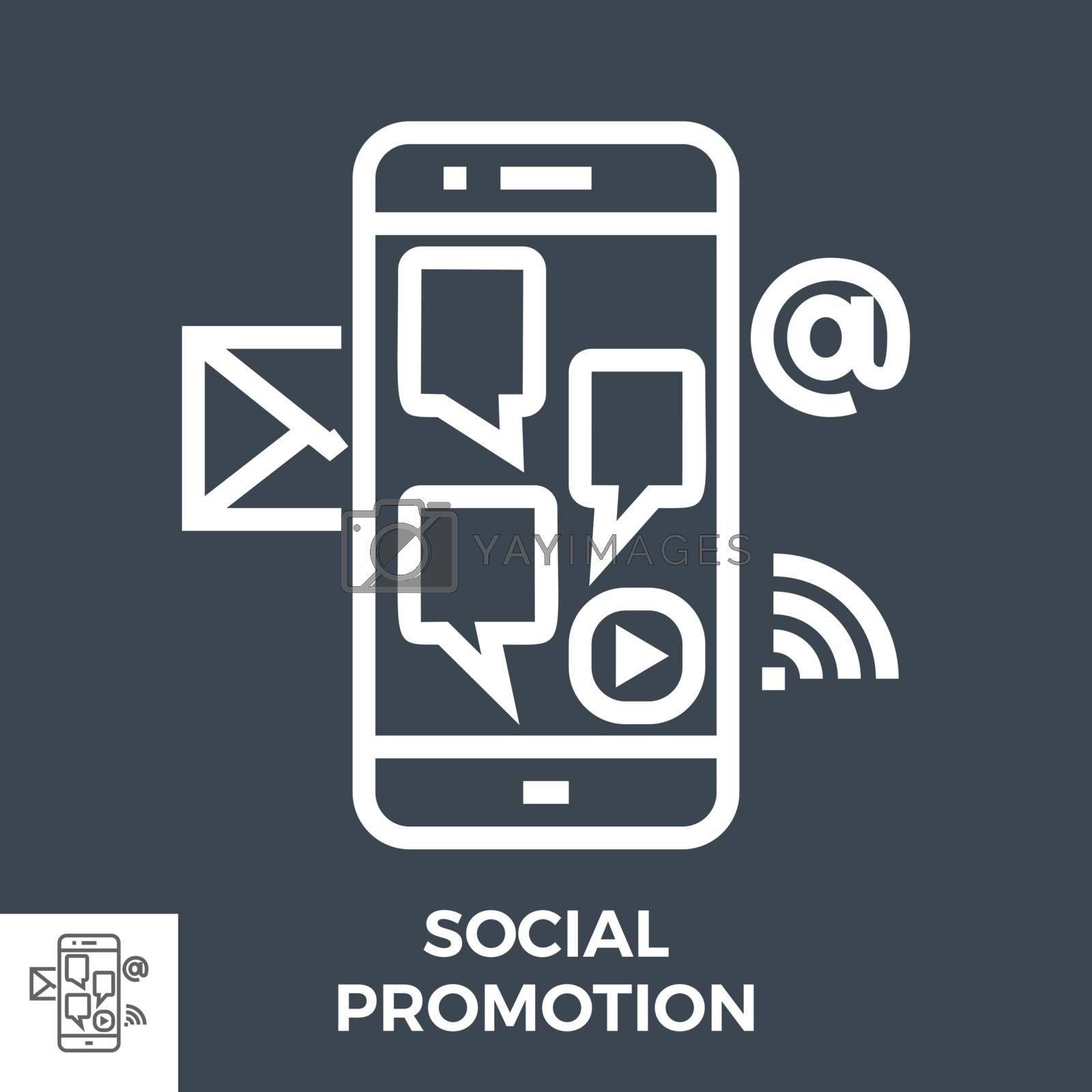 Social Promotion Thin Line Vector Icon Isolated on the Black Background.