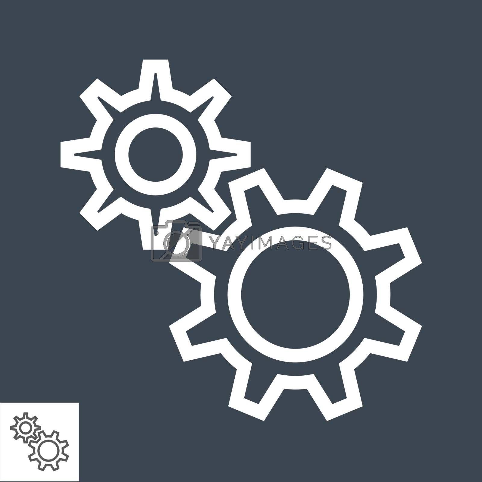 Gear Related Vector Glyph Icon. Isolated on Black Background. Vector Illustration.