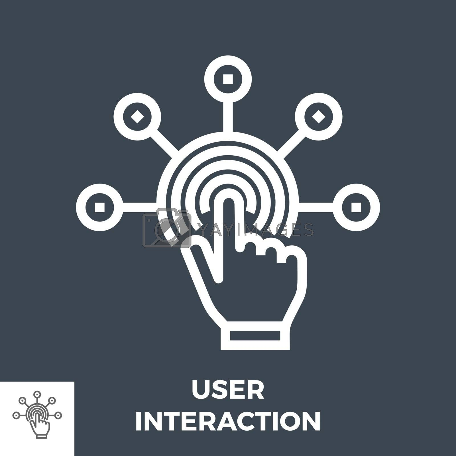 User Interaction Thin Line Vector Icon Isolated on the Black Background.