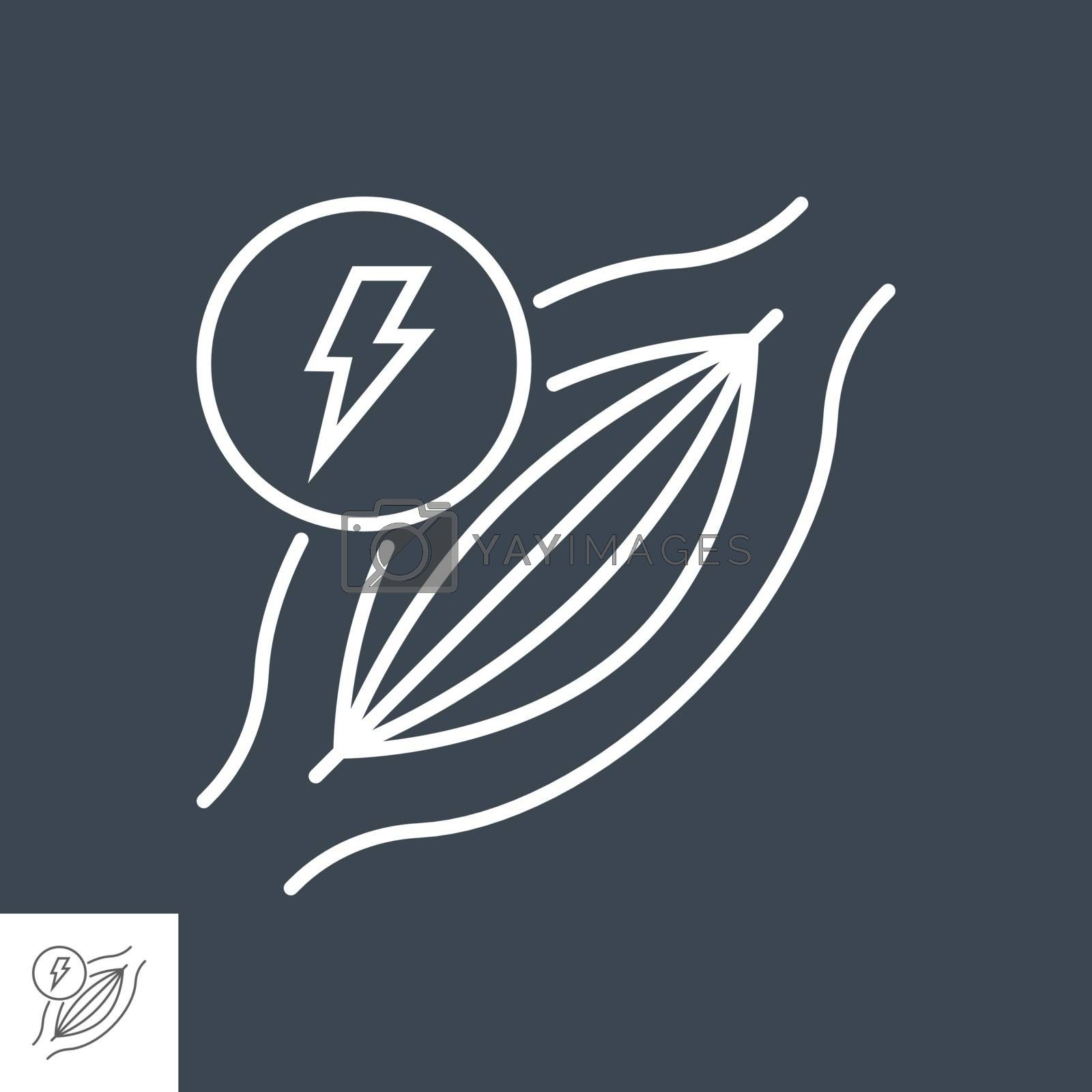 Muscle pain related vector thin line icon. Muscle with lightning. Isolated on black background. Editable stroke. Vector illustration.