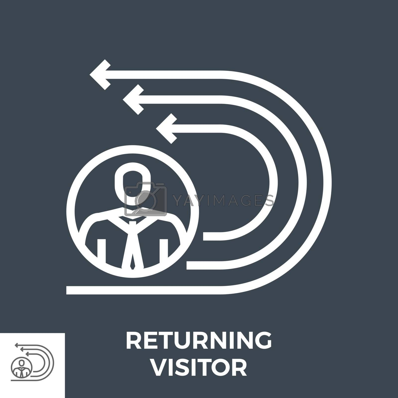 Returning Visitor Thin Line Vector Icon Isolated on the Black Background.