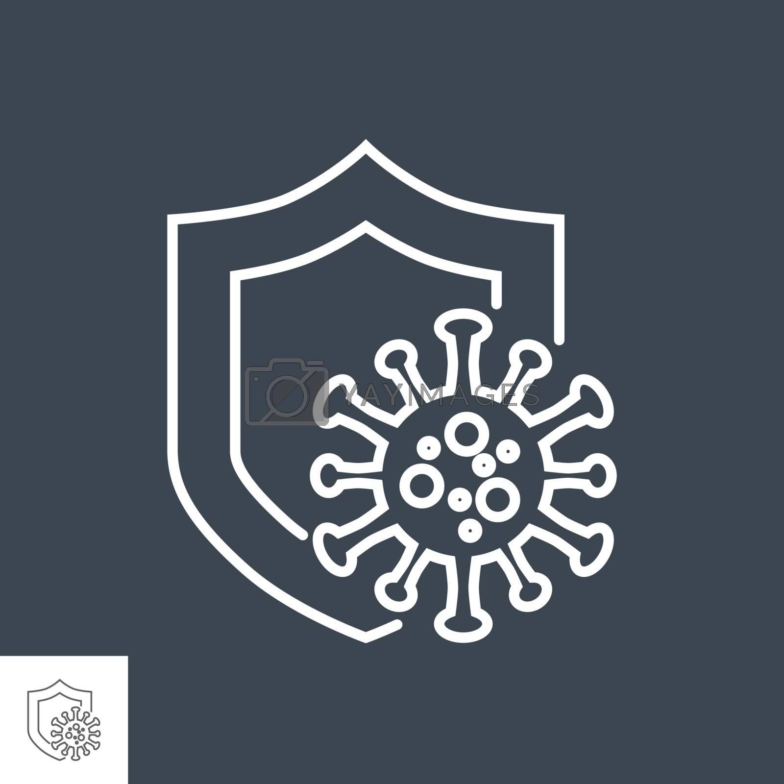Coronavirus Protection related vector thin line icon. Shield protects against coronavirus. Isolated on black background. Editable stroke. Vector illustration.