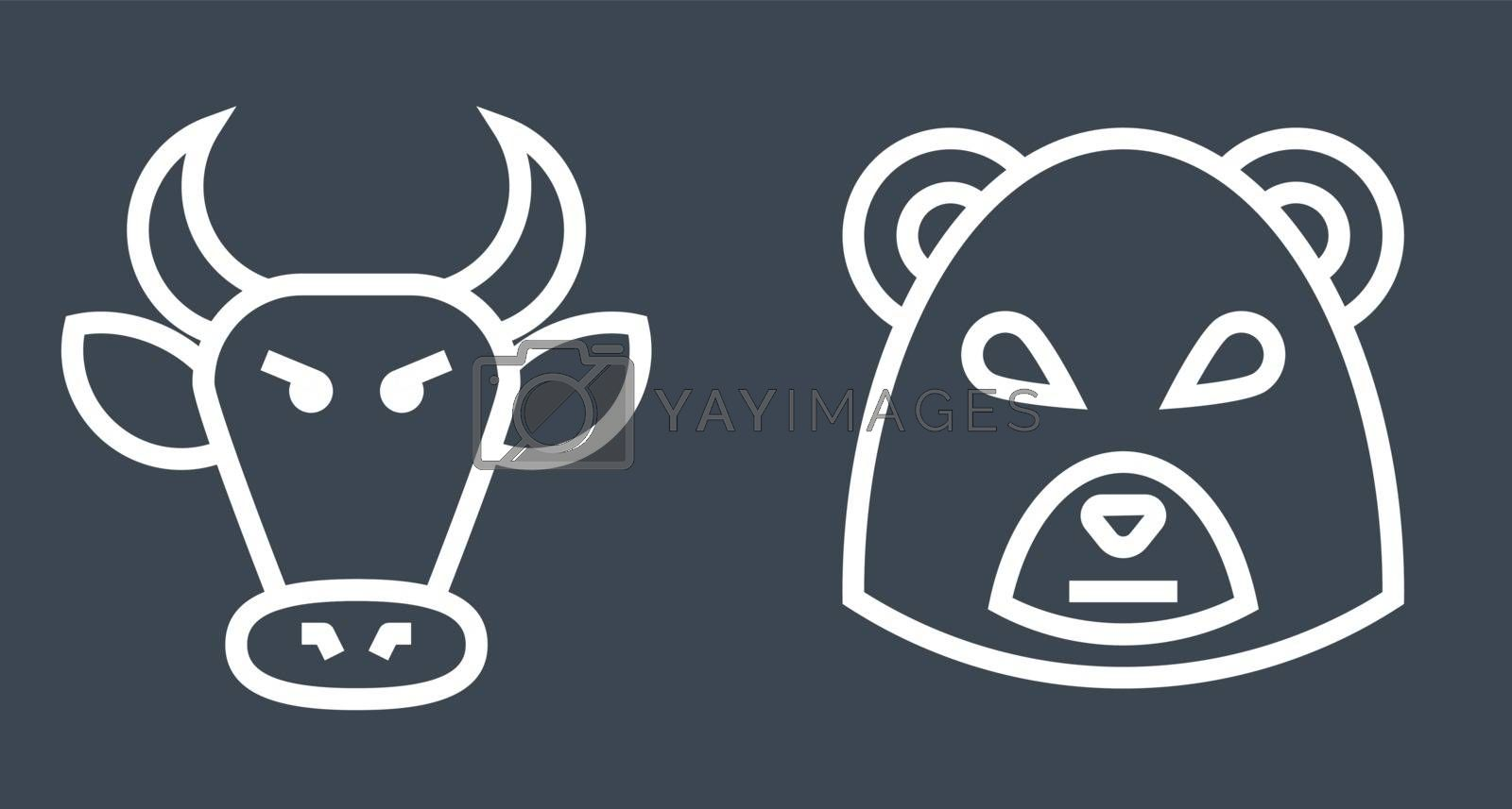 Stock Market Bulls and Bears Thin Line Vector Icon. Flat icon isolated on the black background. Editable EPS file. Vector illustration.