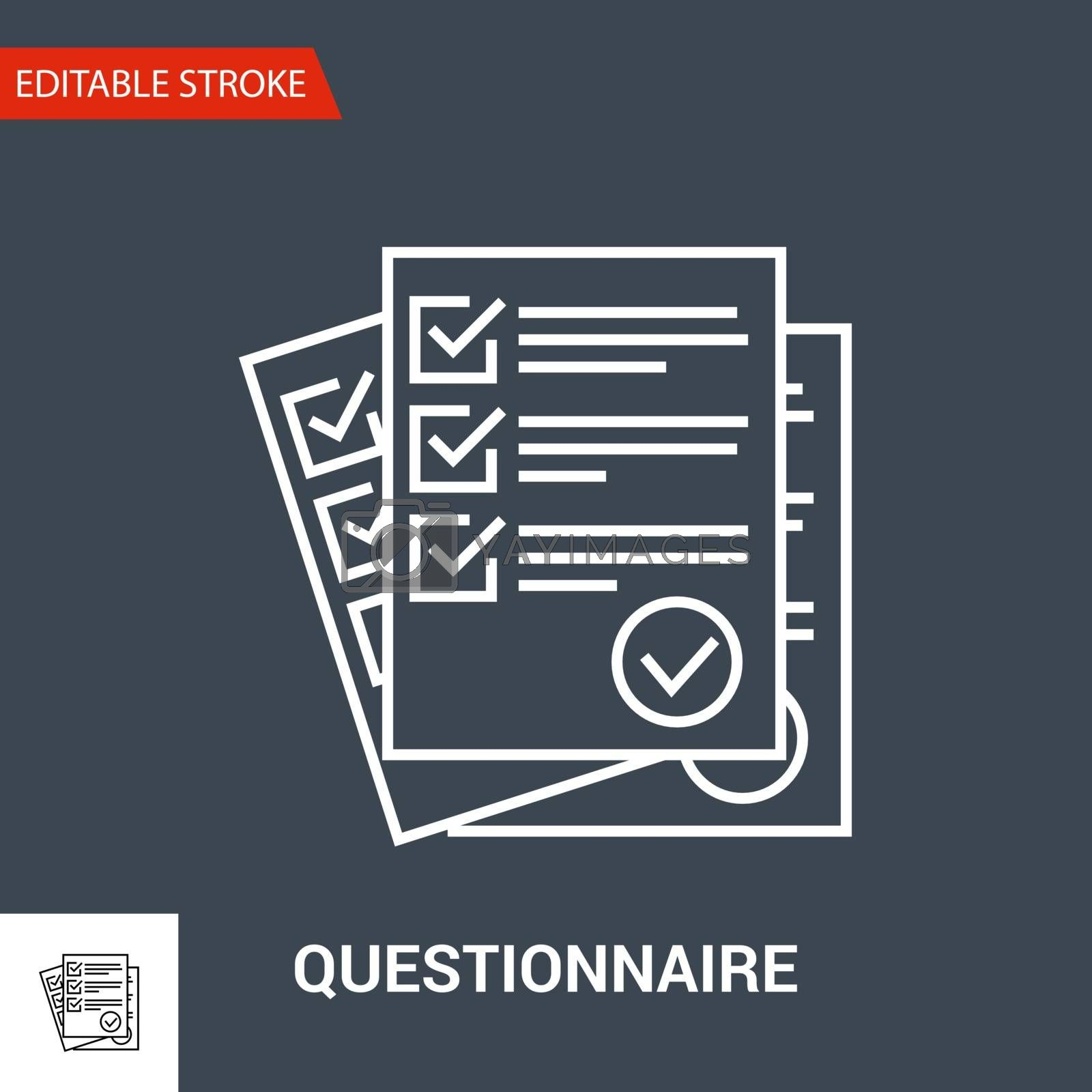 Questionnaire Icon. Thin Line Vector Illustration - Adjust stroke weight - Expand to any Size - Easy Change Colour - Editable Stroke