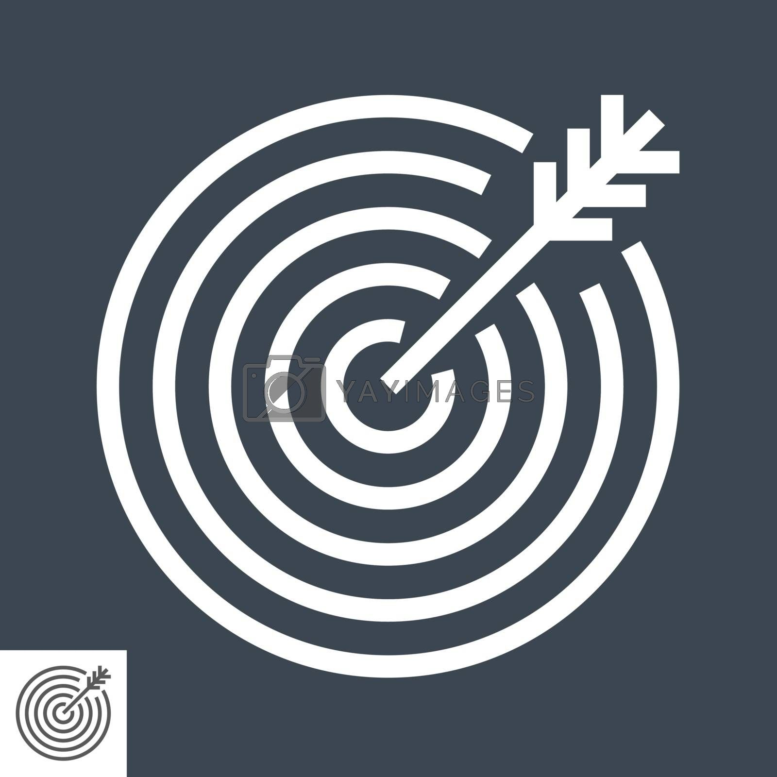 Target Thin Line Vector Icon. Flat icon isolated on the black background. Editable EPS file. Vector illustration.