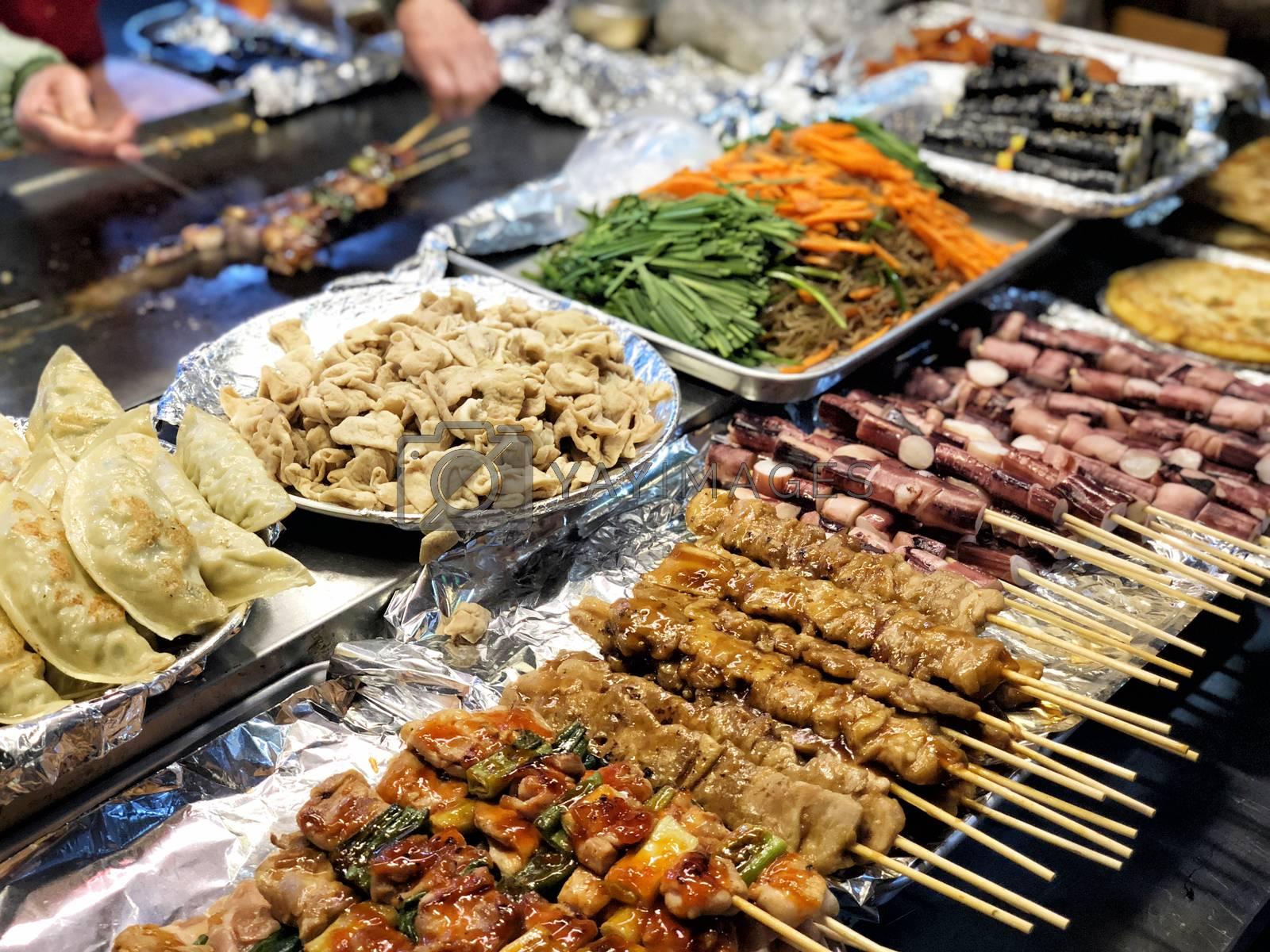 Street food at Dongdaemun district nightlife in Seoul, Korea