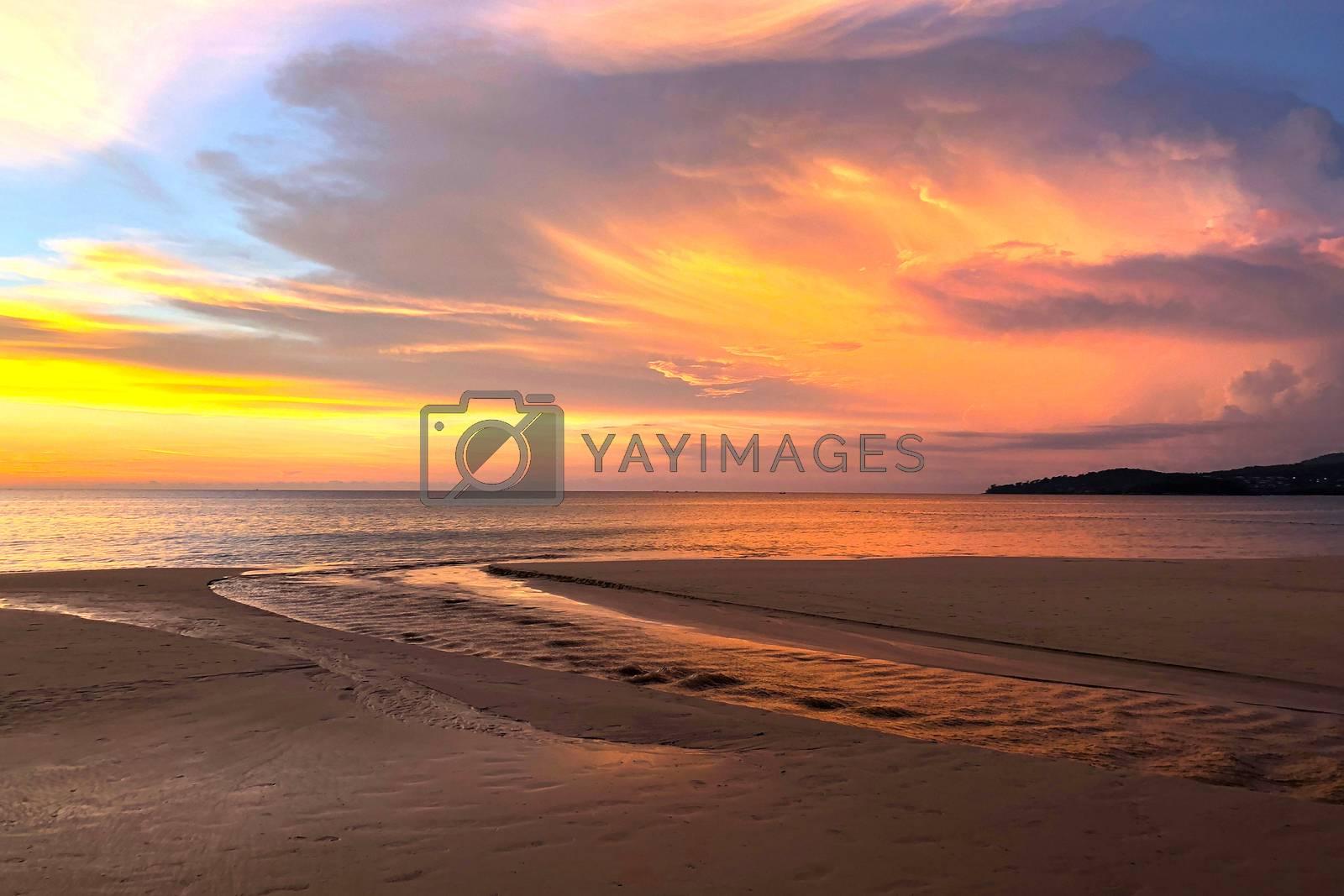 View of sunset at Karon beach in Phuket, Thailand