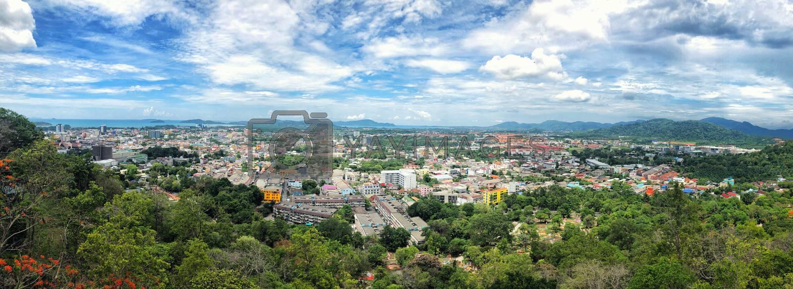 Panoramic view landscape at Khao Rang Viewpoint of Phuket city in daylight, Phuket province, Thailand