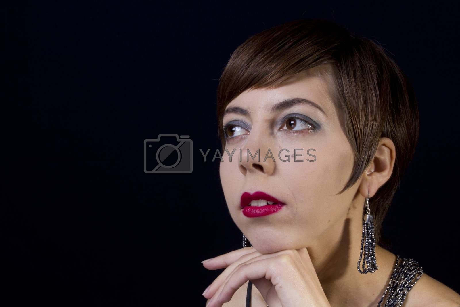 Portrait of a girl in retro style on a black background