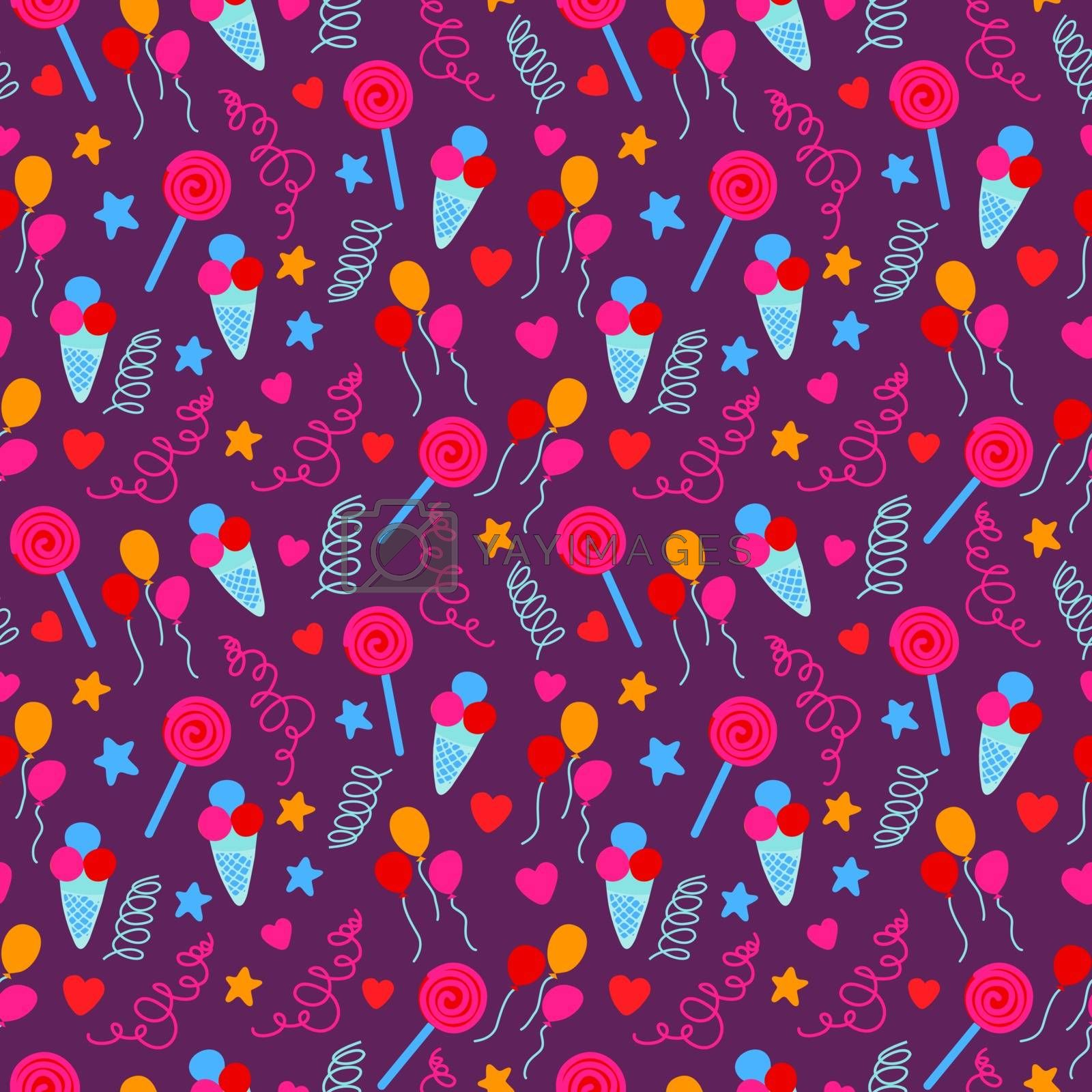 Seamless pattern with birthday party decorative icons set with birthday cake, ice cream, confetti and assorted colorful lollipops in modern flat style. Vector illustration