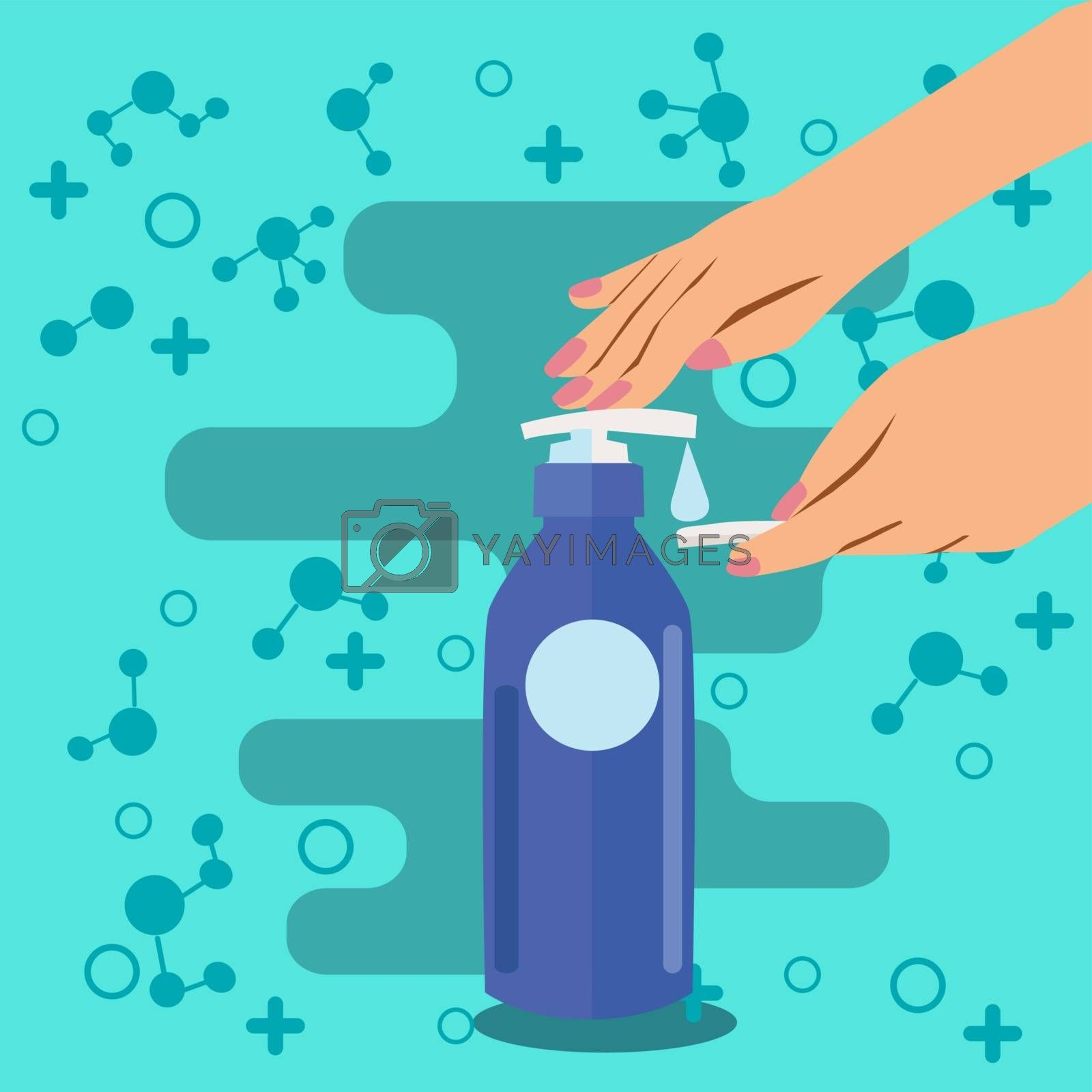 Hands Push down  the pump liquid soap or toner lotion. Cosmetic Hygiene product Liquid lotion and cotton pad symbol on a green background .