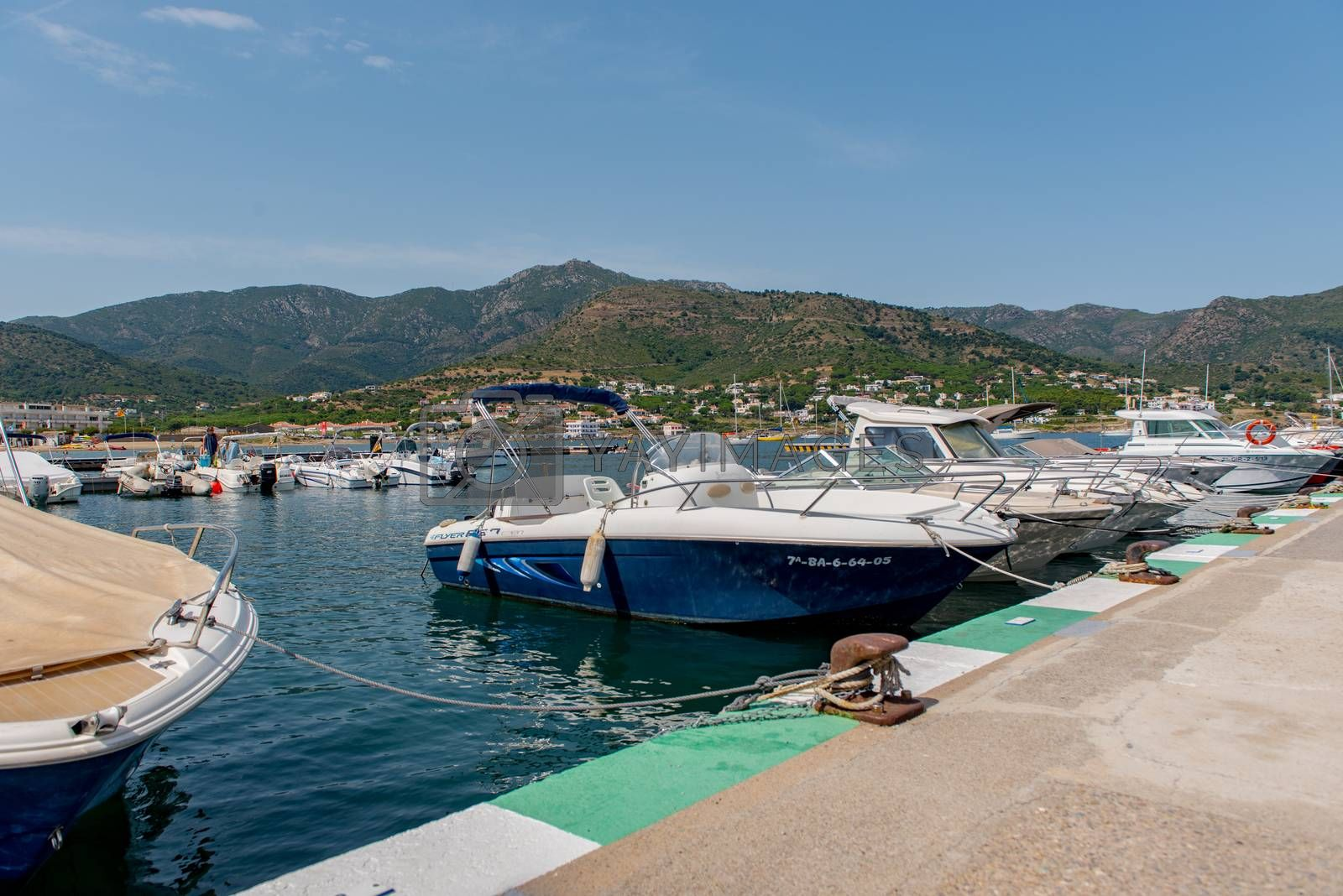Port de la Selva, Spain : 9 July 2020 : View of Port de la Selva, one of the most touristic villages of Costa Brava, on 9 July 2020, in Port de la Selva, Catalonia, Spain.