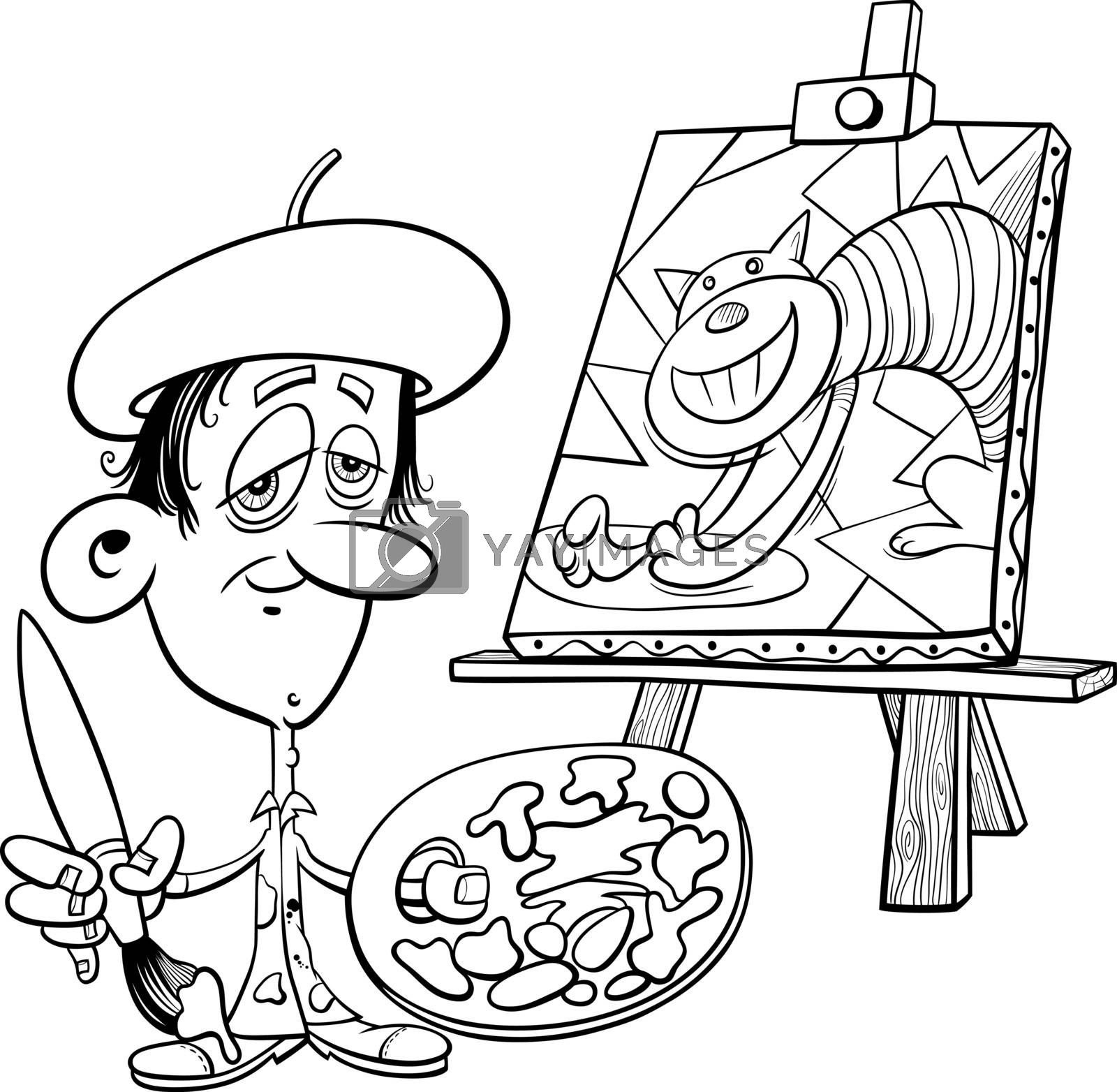 Black and white cartoon illustration of painter artist with his painting coloring book page