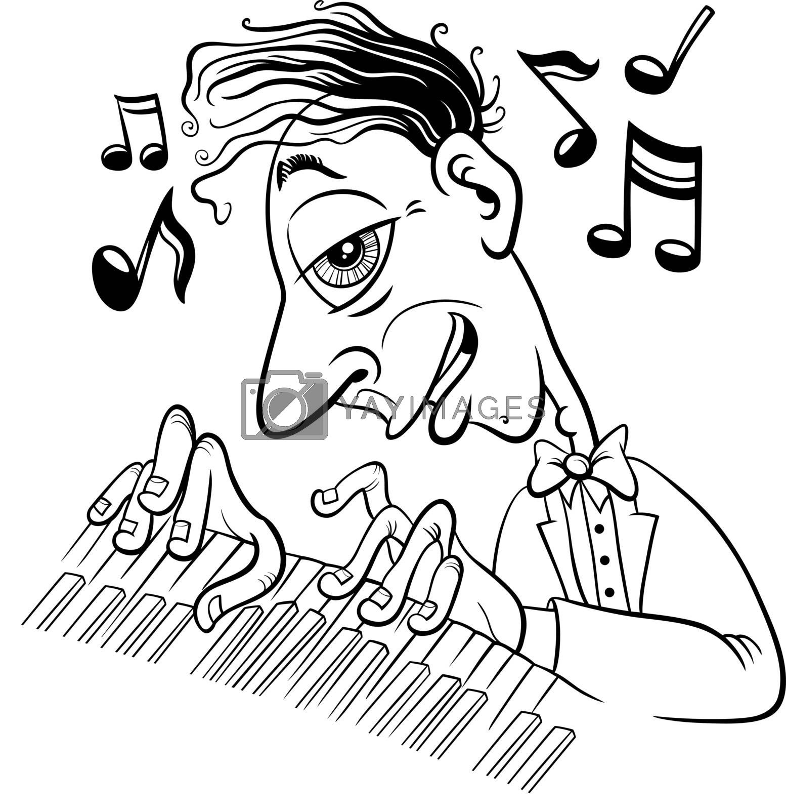 Black and white cartoon illustration of musician pianist playing the piano coloring book page