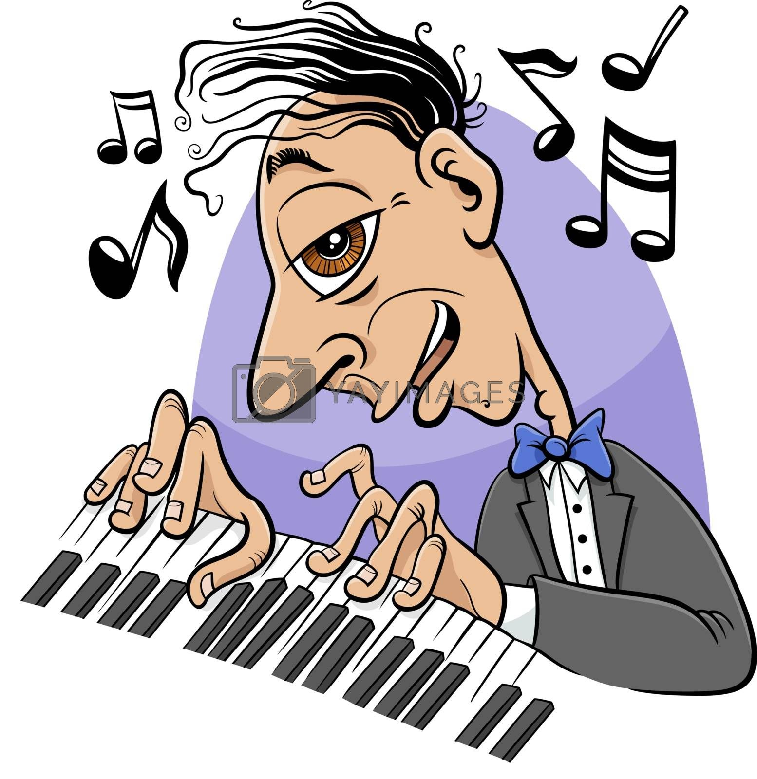 Cartoon illustration of musician pianist playing the piano