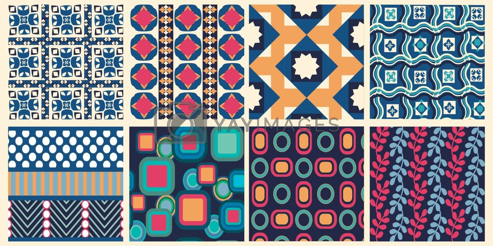 Vector Set of abstract geometric seamless patterns artwork, decorative seamless backgrounds. Repeating graphic texture, wallpaper collection, design for fabric or paper print.