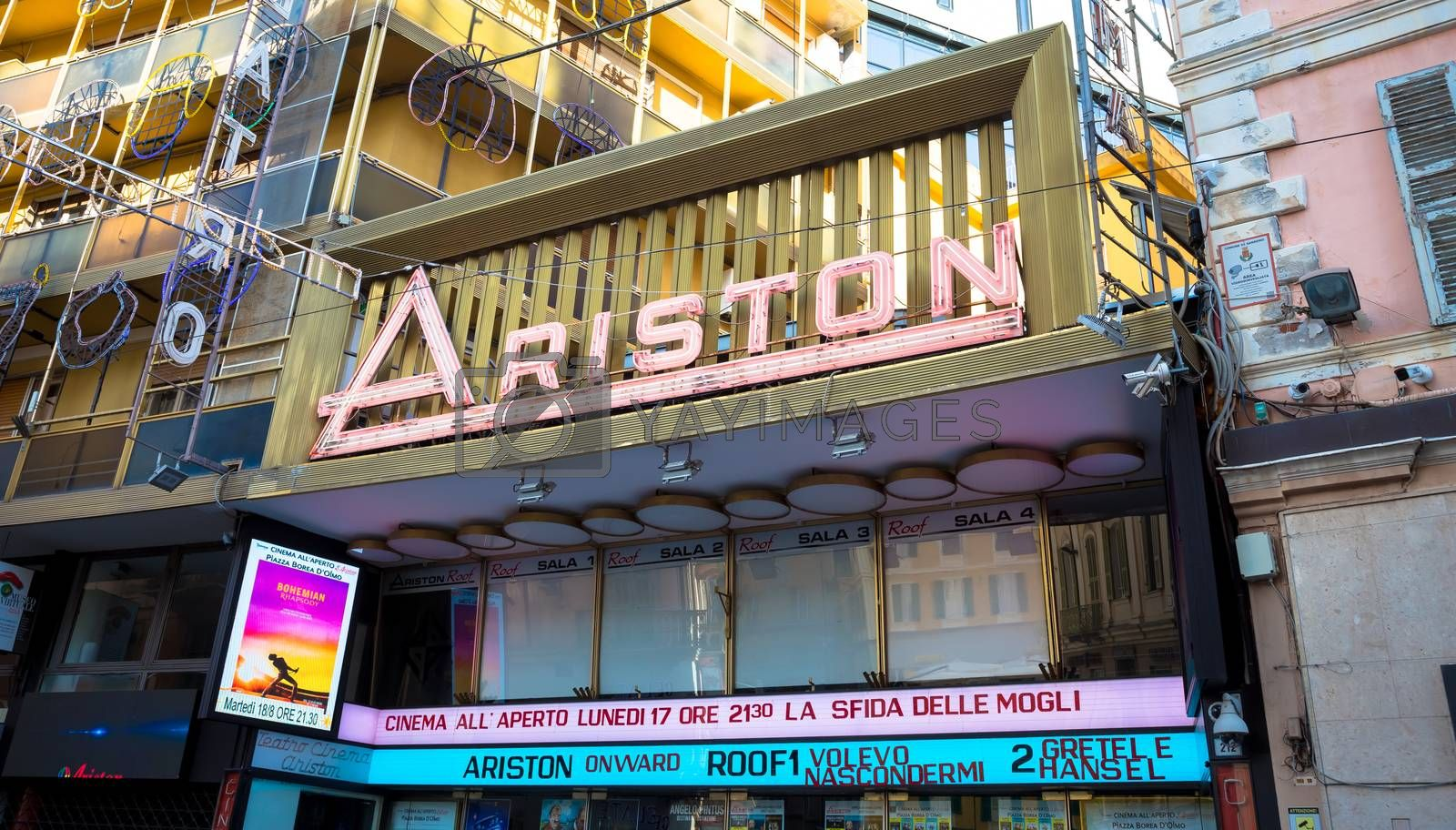 SANREMO, ITALY - CIRCA AUGUST 2020: view of the Sanremo Ariston theatre with detail of the name. This is the famous song festival location.